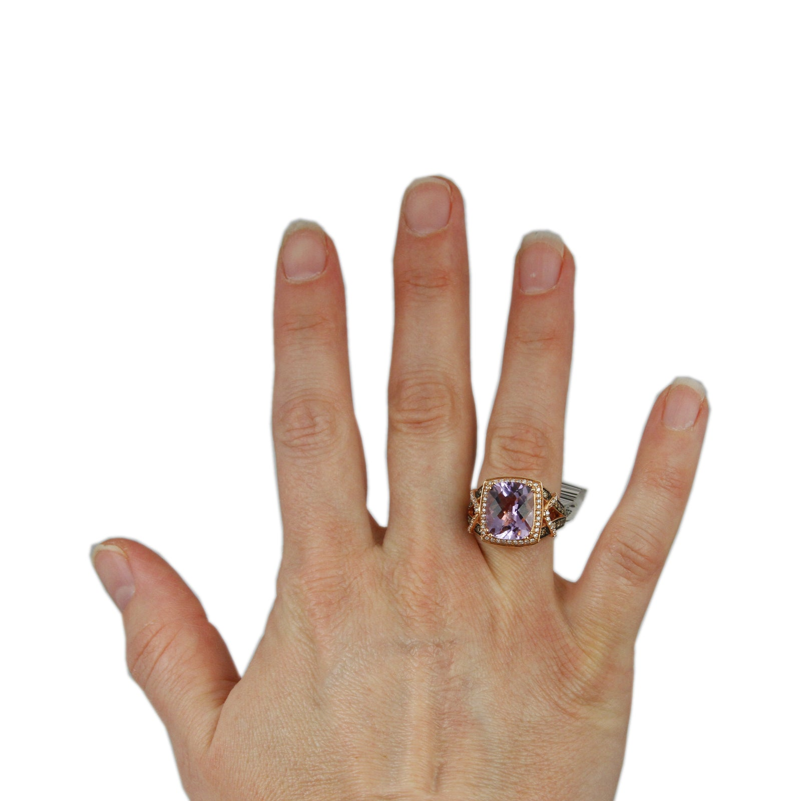 Designer Le Vian 4.40ct Cushion Cut Amethyst with White & Chocolate Diamond Accents-3