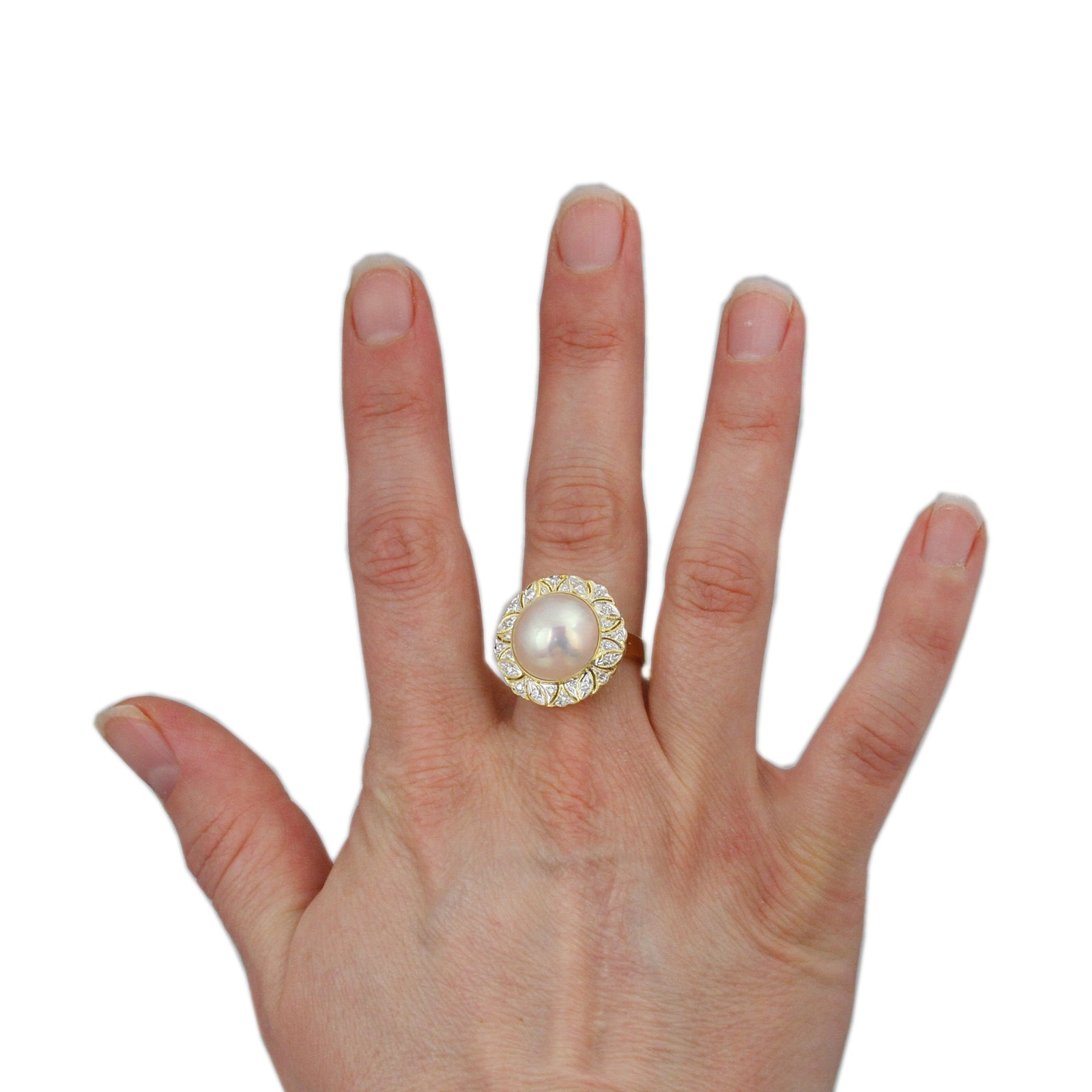 Mabe Pearl Ring with 1/4cttw Round Brilliant Cut Diamond Bezel in 18K Yellow Gold-3