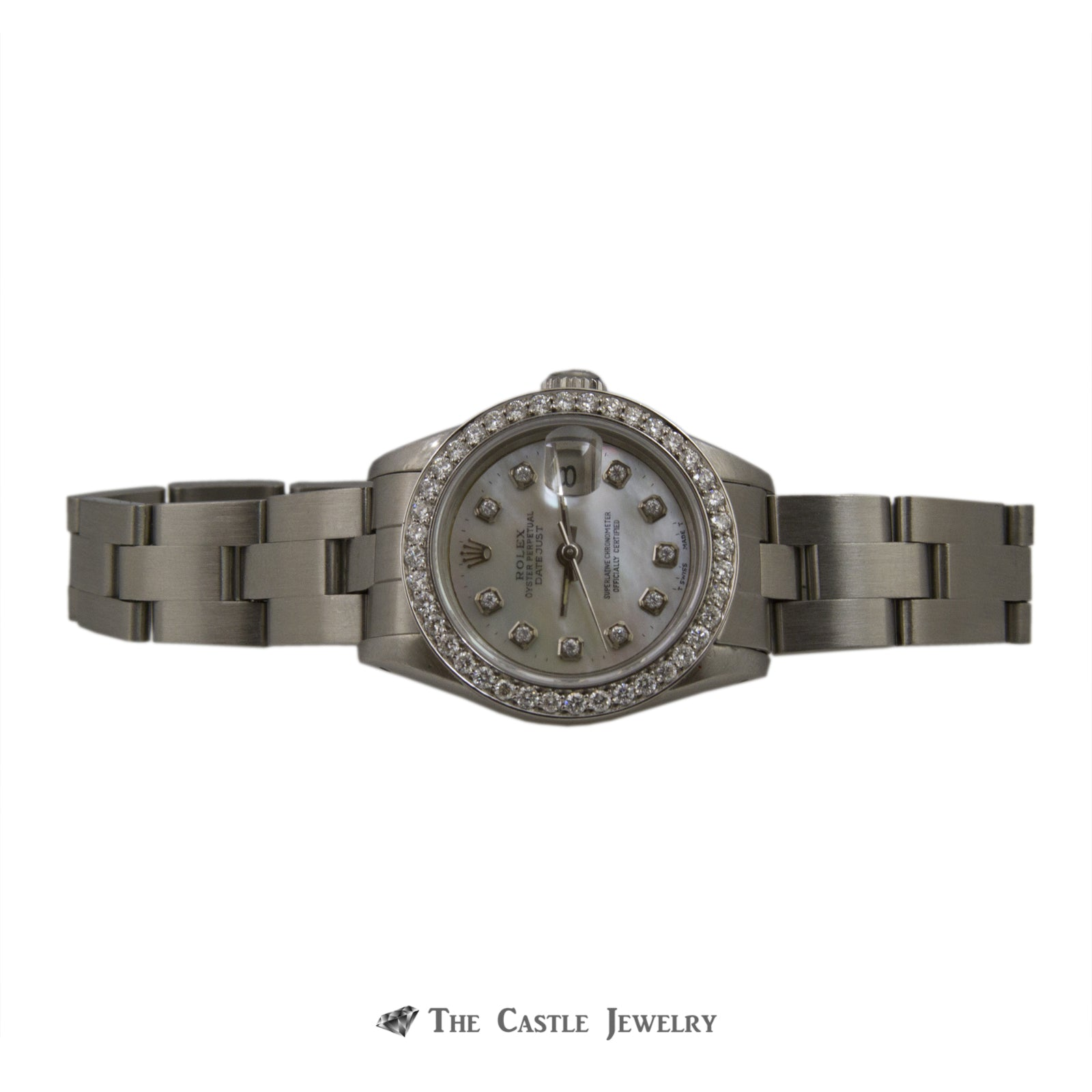Rolex Datejust 26mm Watch Stainless Steel w/ Mother of Pearl Diamond Dial & Bezel 69160-4
