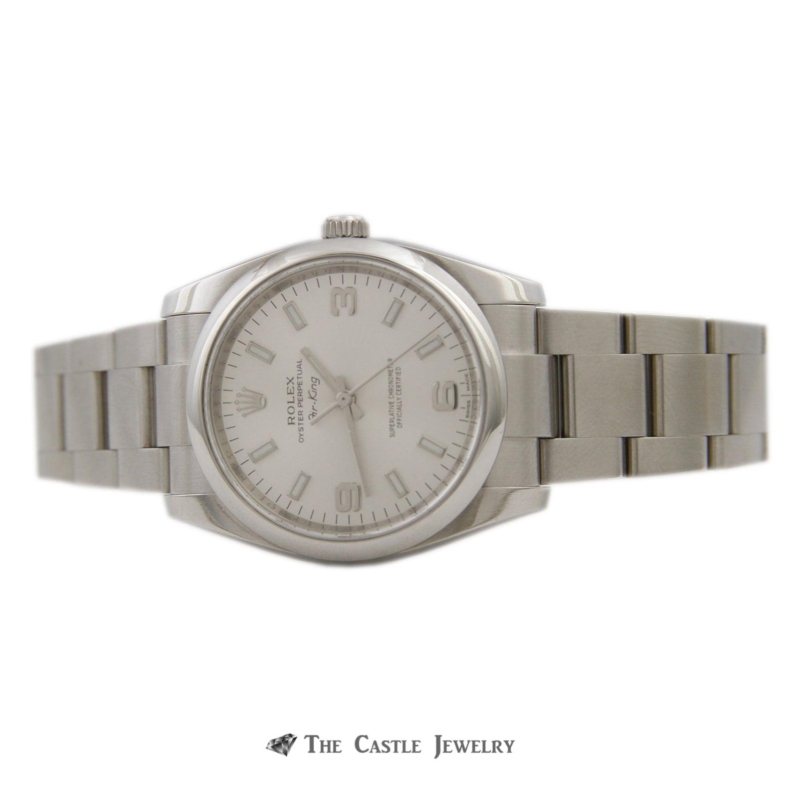 Rolex Air King 34mm Watch All Stainless w/ Silver Arabic Dial and Polished Bezel 114200-5