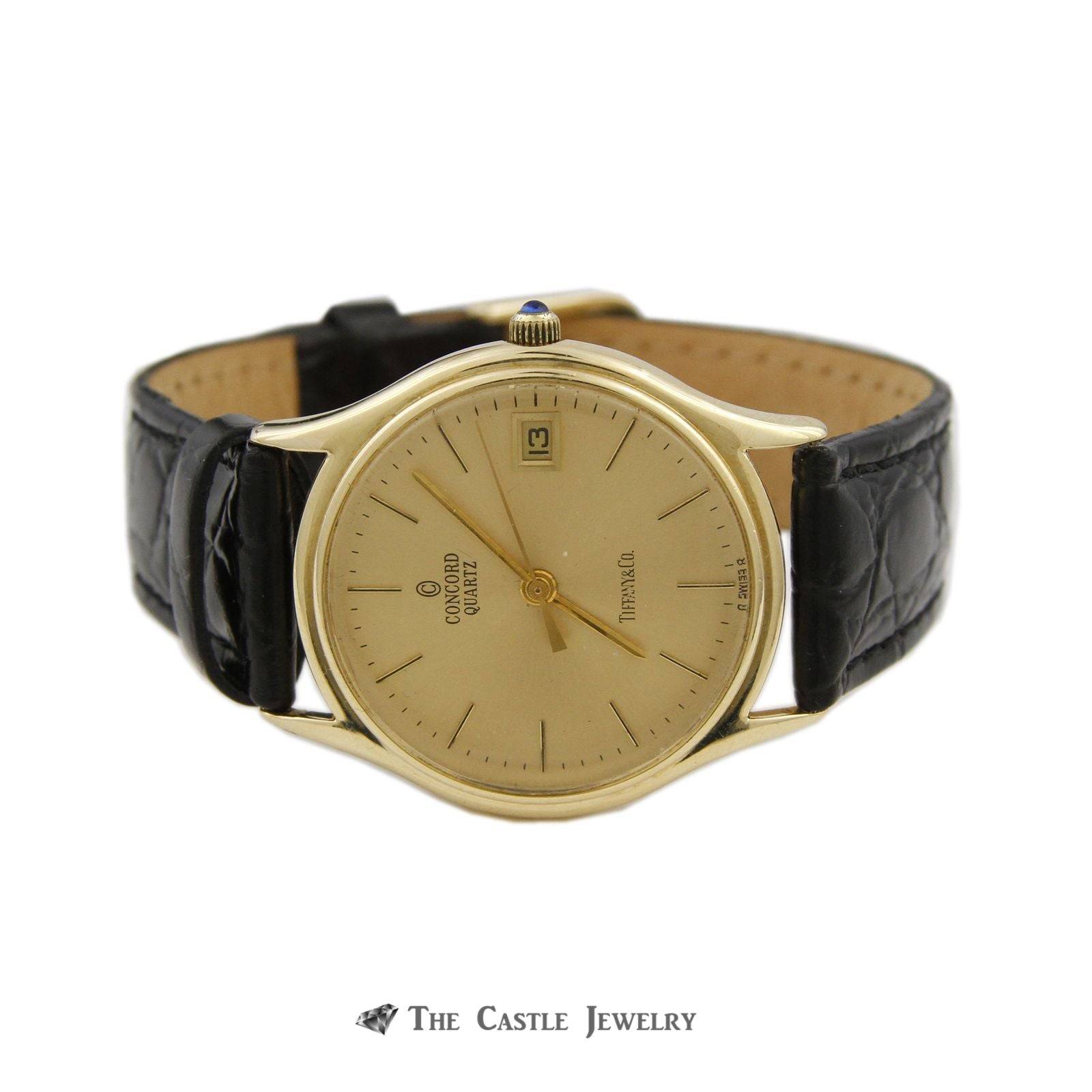 "Tiffany & Co. ""Concord"" Quartz Watch w/ Black Leather Band w/ 14k Yellow Cold Case & Buckle-4"