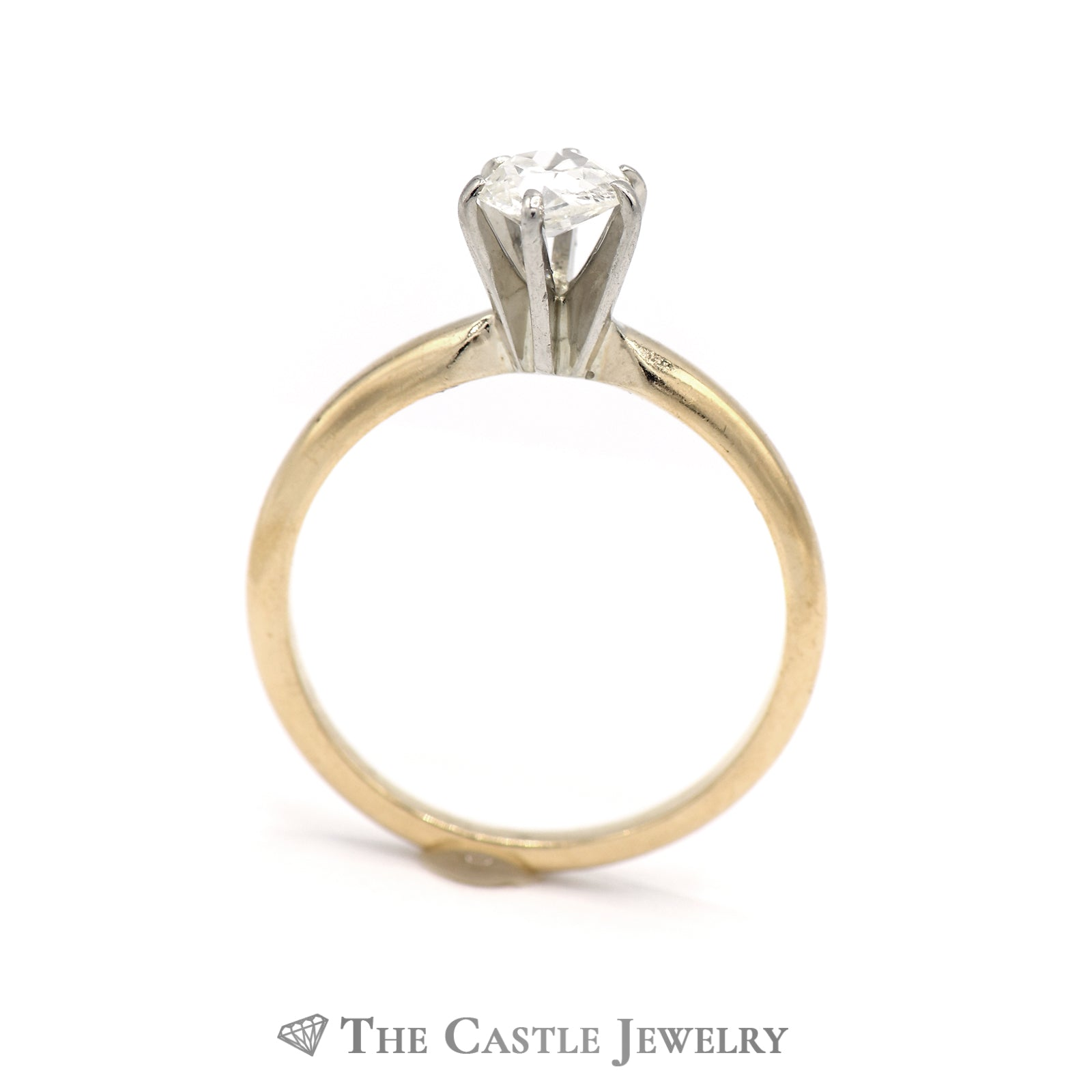 Old Mine Cut .50ct Diamond Solitaire Engagement Ring in 14K Yellow Gold-1