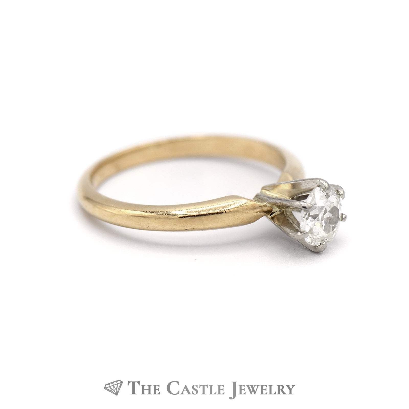 Old Mine Cut .50ct Diamond Solitaire Engagement Ring in 14K Yellow Gold-2