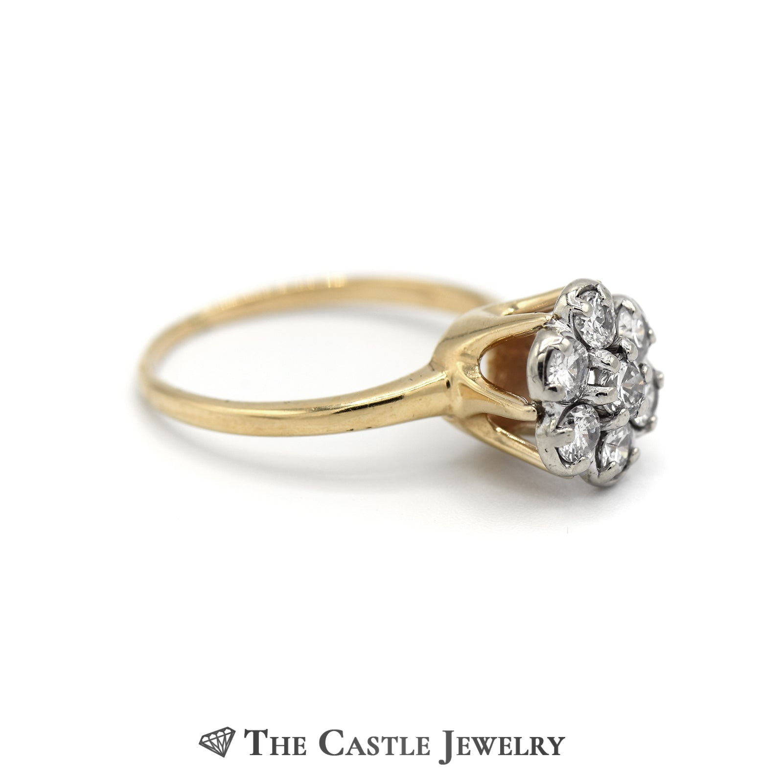 Round Brilliant Cut 7 Diamond 3/4cttw Cluster Ring in 14K Yellow Gold-2