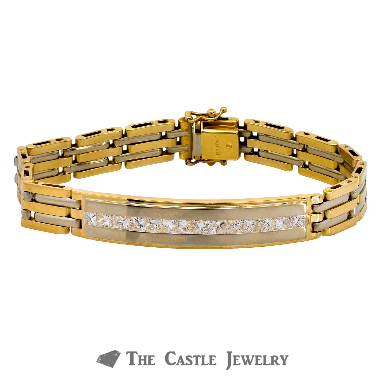 8 Inch Men's Bracelet Crafted in 14K Yellow Gold with Princess Cut Diamonds in Center