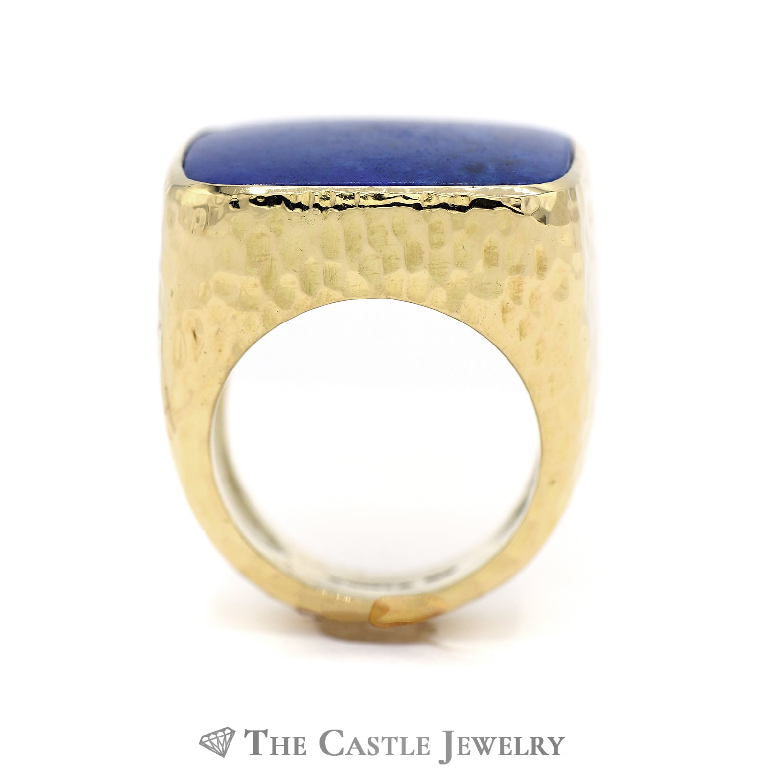Men's Cushion Cut Lapis Ring with Diamond Cut Designed 18k Yellow Gold Mounting-1