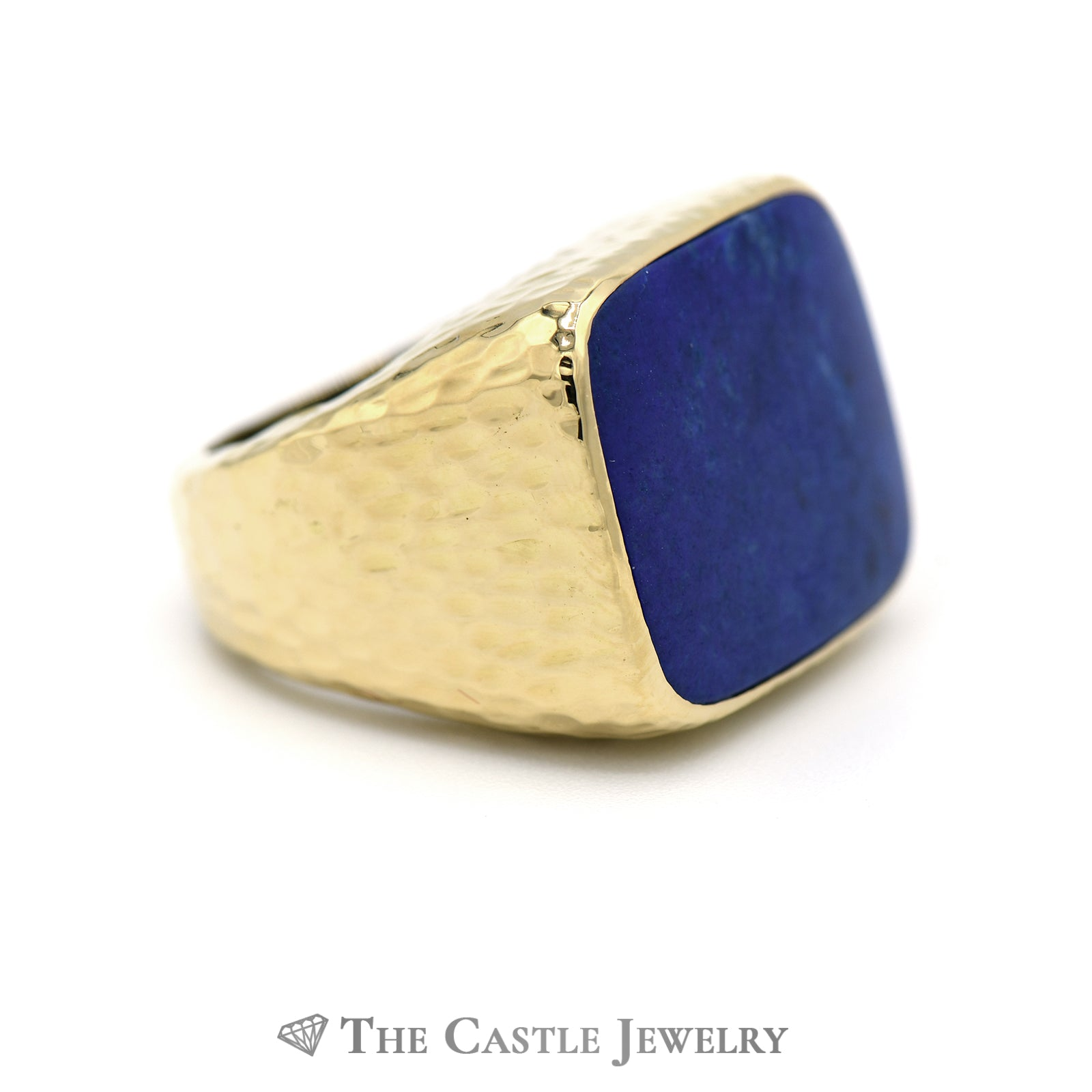 Men's Cushion Cut Lapis Ring with Diamond Cut Designed 18k Yellow Gold Mounting-2
