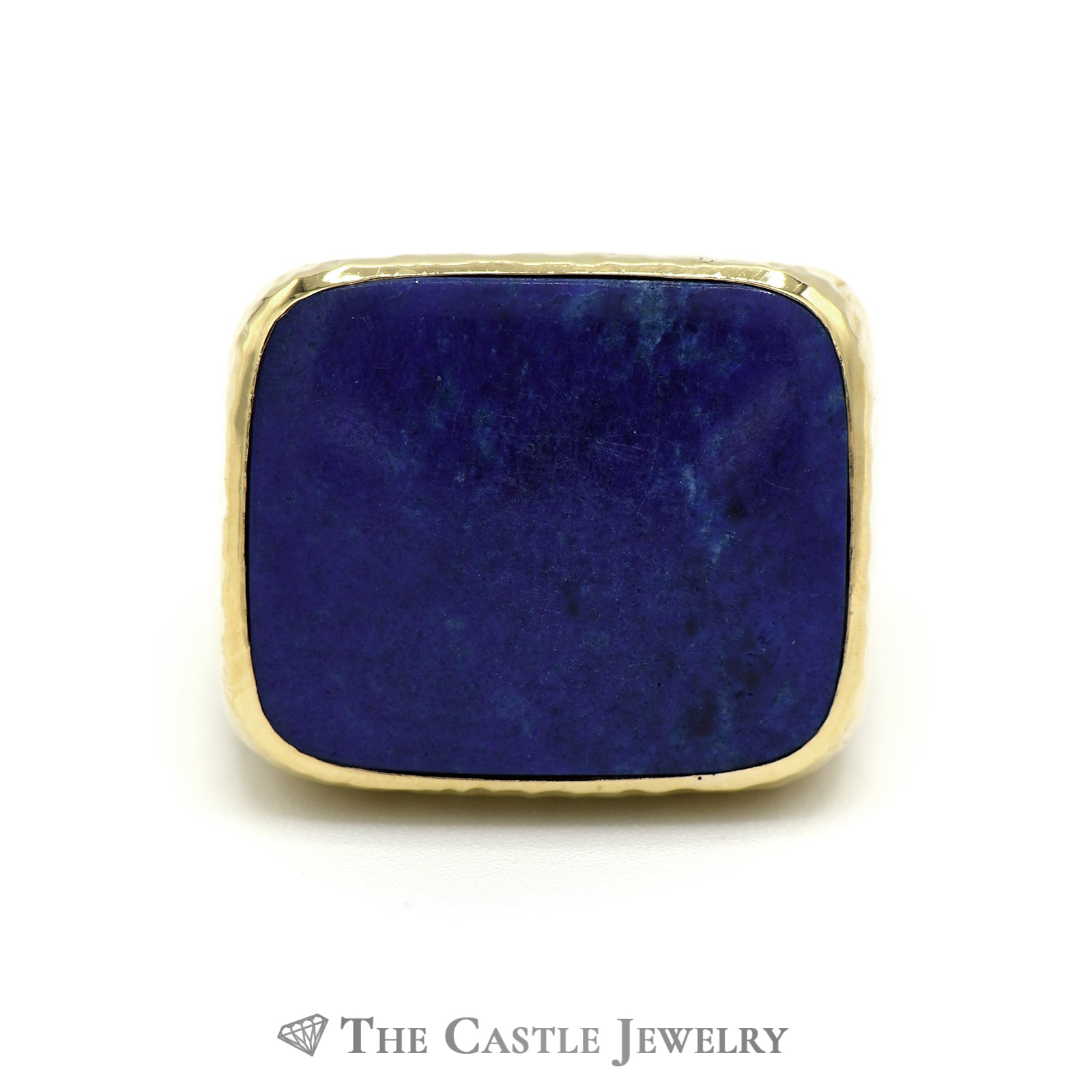 Men's Cushion Cut Lapis Ring with Diamond Cut Designed 18k Yellow Gold Mounting