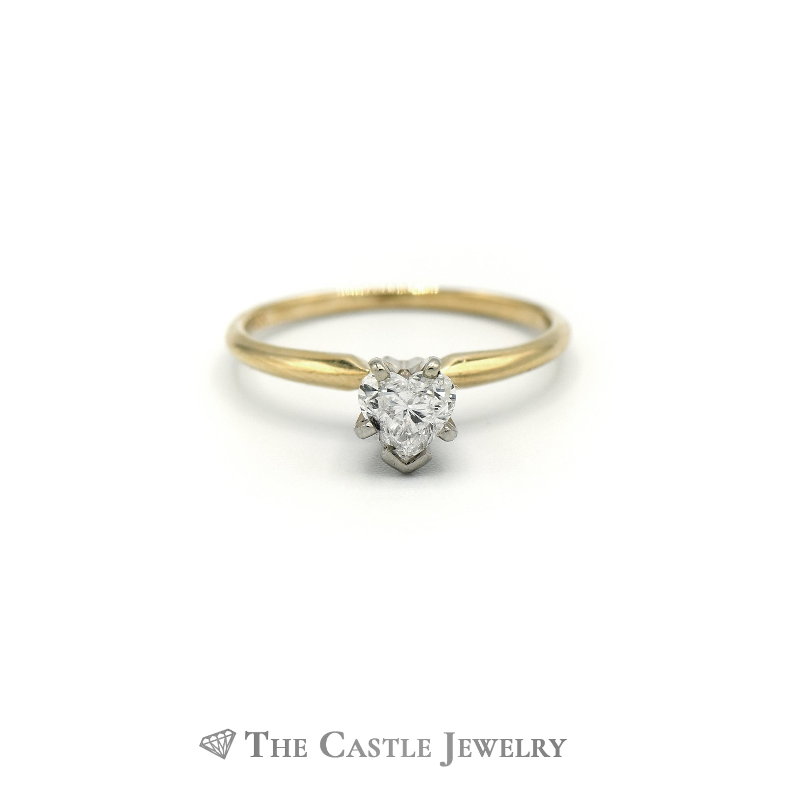 .48ct Heart Shaped Diamond Solitaire Engagement Ring Crafted in 14k Yellow Gold