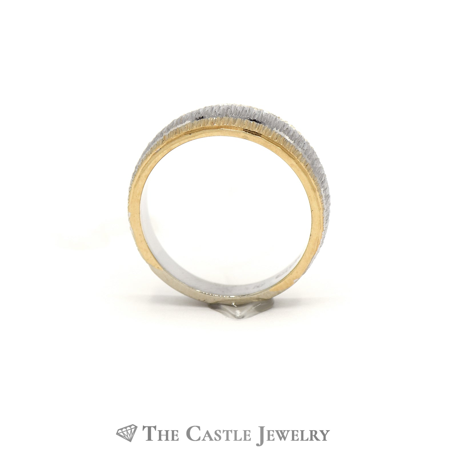 Lovely Two Toned Tapered Band in White and Yellow Gold-1