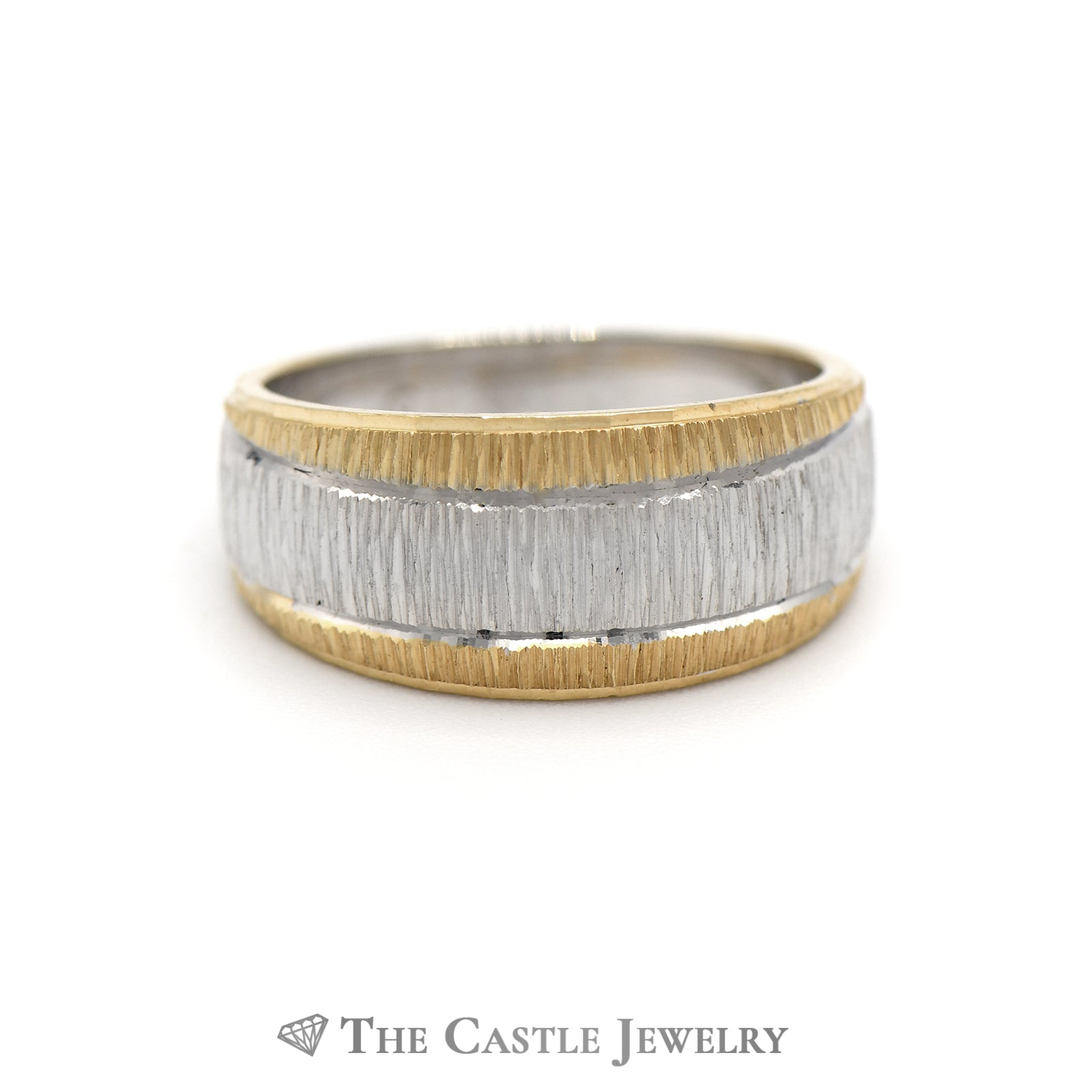 Lovely Two Toned Tapered Band in White and Yellow Gold