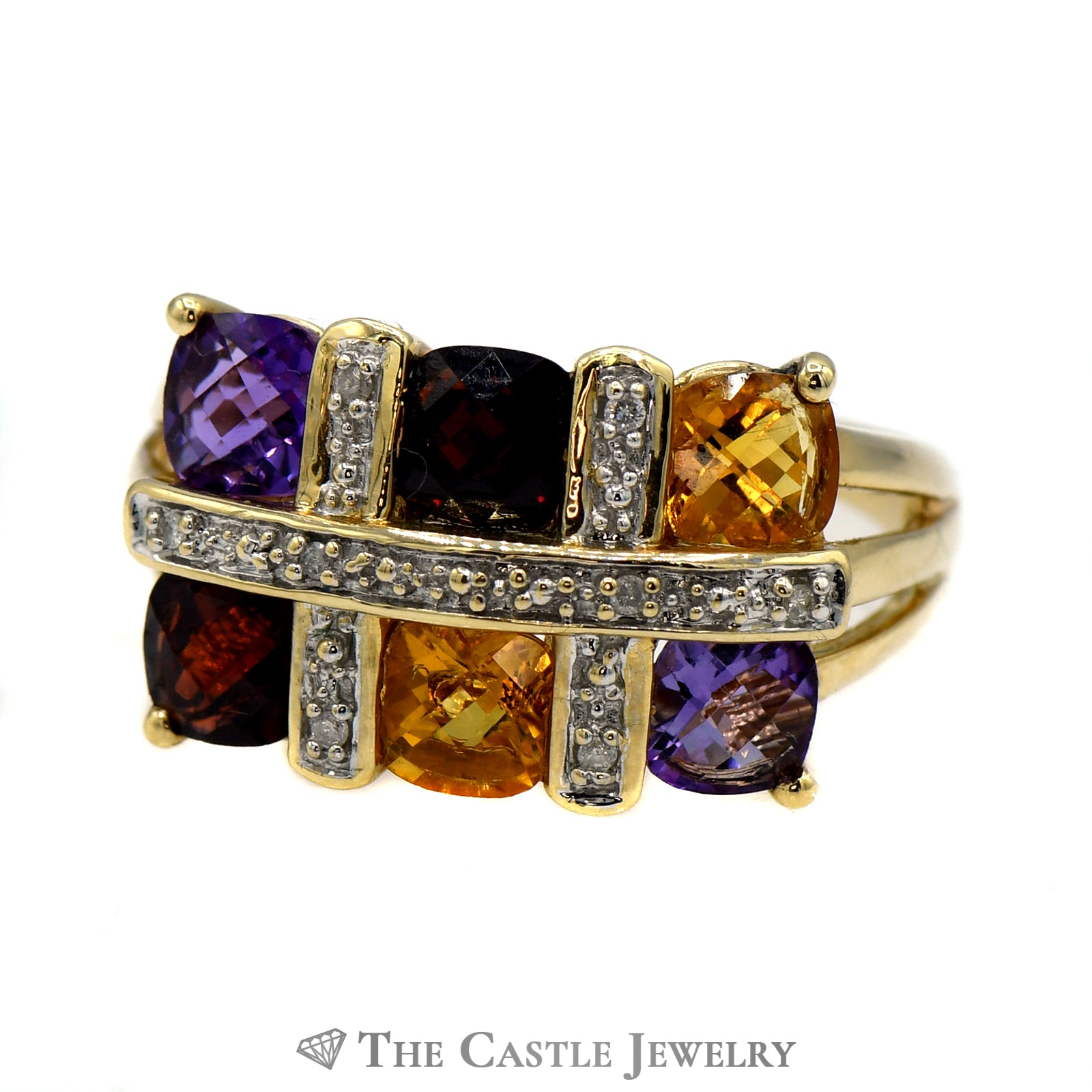 Multi Gemstone & .04cttw Diamond Ring with Split Shank Mount in 14k Yellow Gold