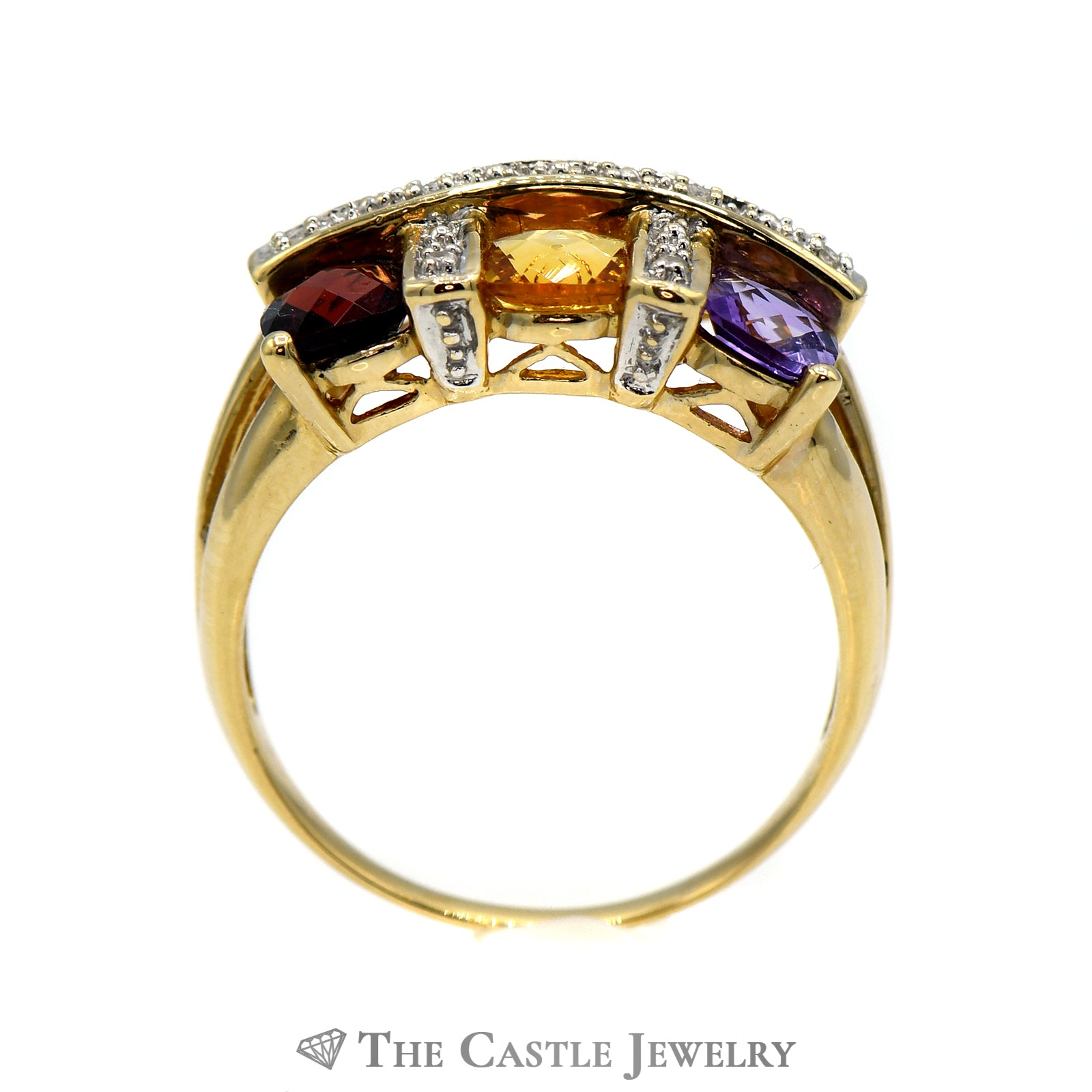 Multi Gemstone & .04cttw Diamond Ring with Split Shank Mount in 14k Yellow Gold-1