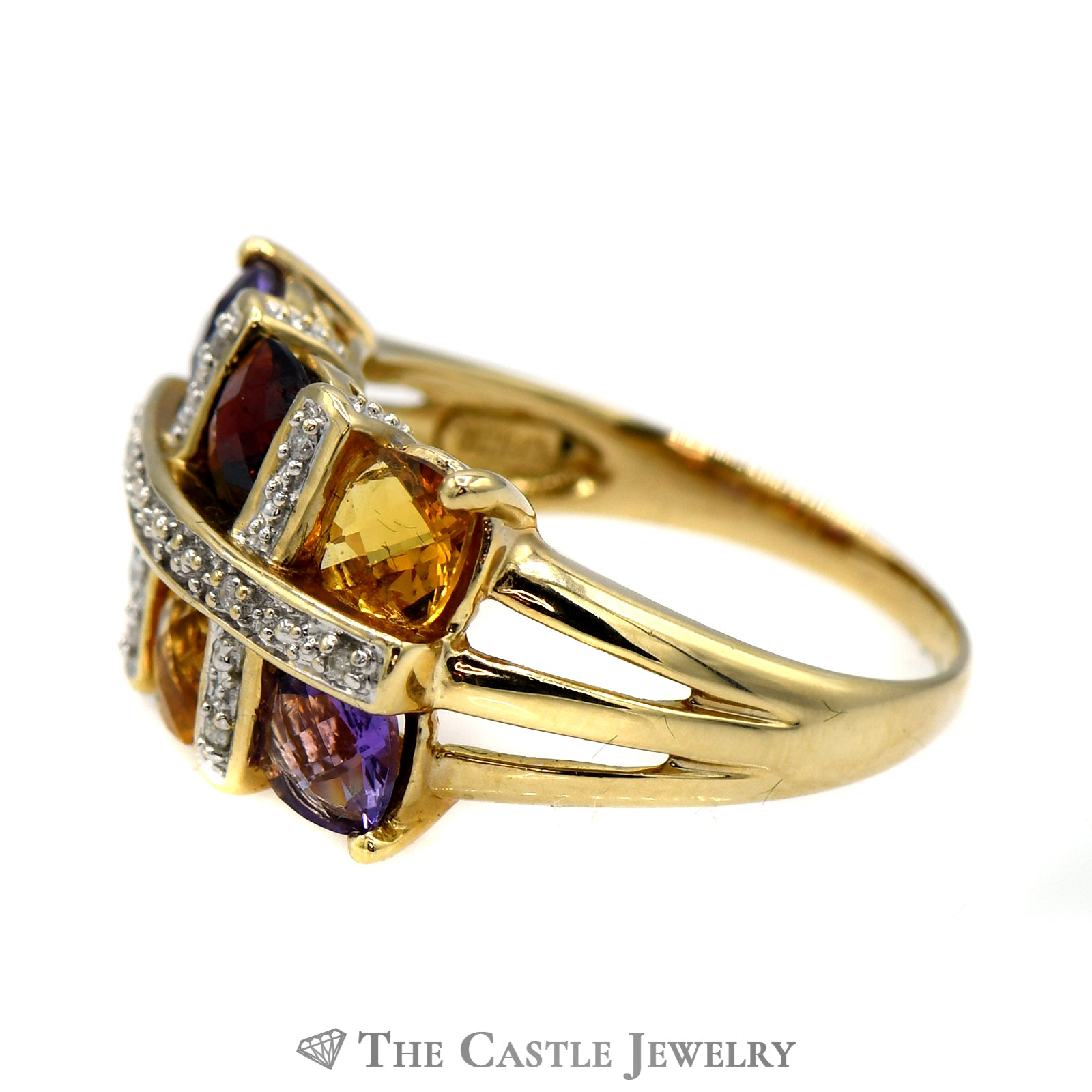 Multi Gemstone & .04cttw Diamond Ring with Split Shank Mount in 14k Yellow Gold-2