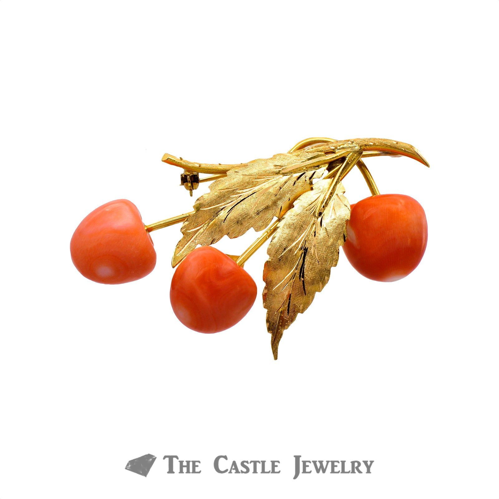 Antique Coral Berry Leaf Brooch in 18K Yellow Gold