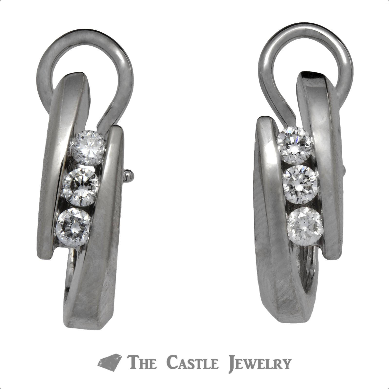 Three Diamond Earrings with Bypass Design