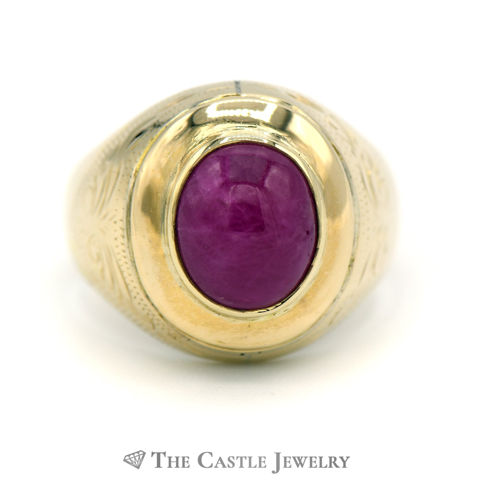 Bezel Set Oval Cabochon Ruby Ring in Etched 18k Yellow Gold Mounting