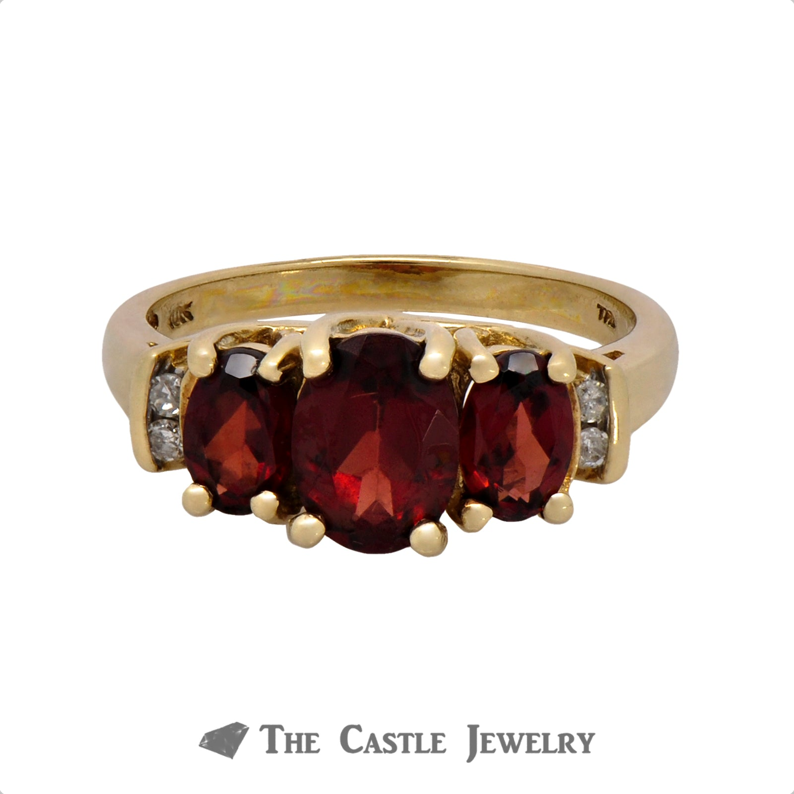 Triple Oval Garnet Ring with Diamond Accents in 10k Yellow Gold