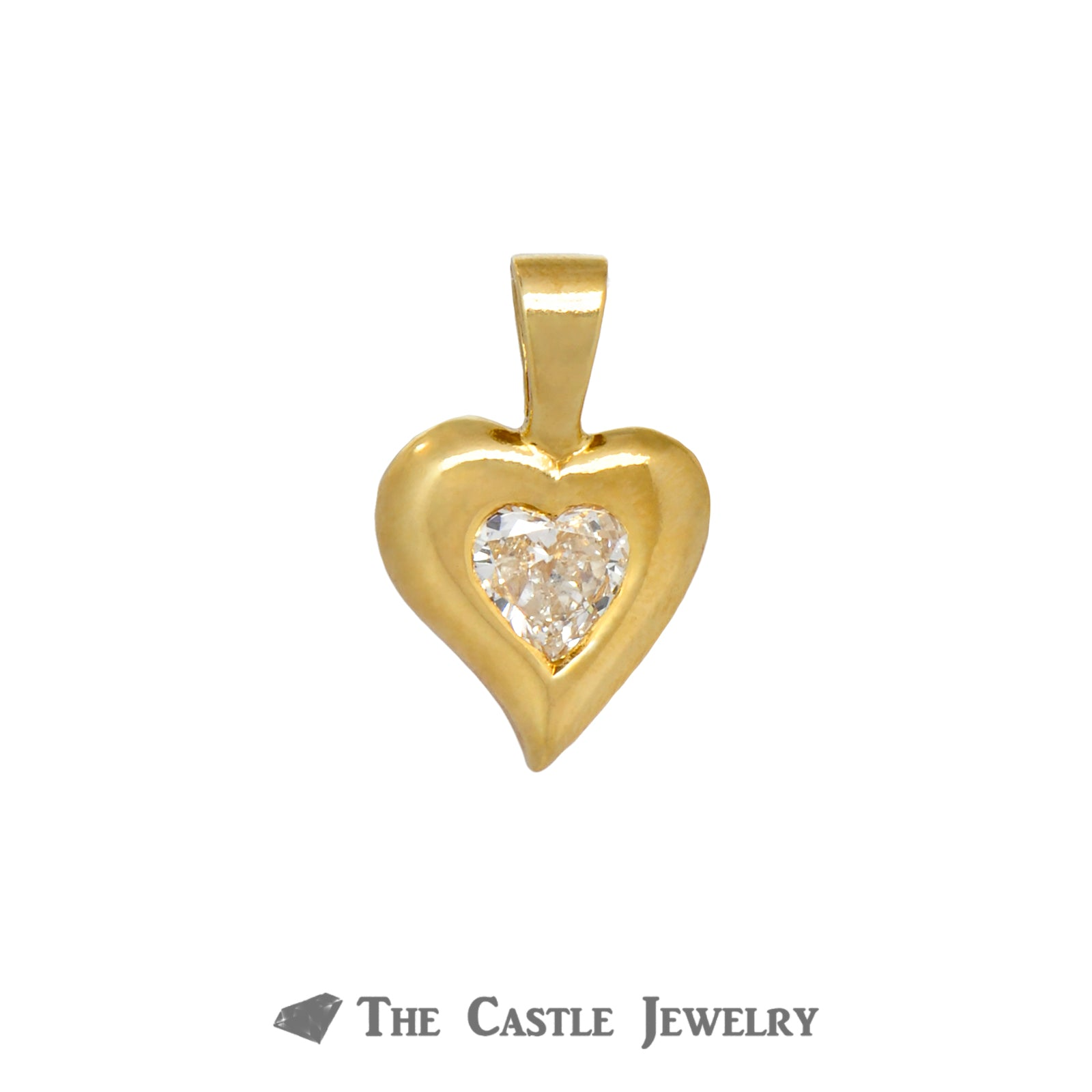Gorgeous 14k Yellow Gold Heart Shaped Pendant with Bezel Set Heart Cut Diamond