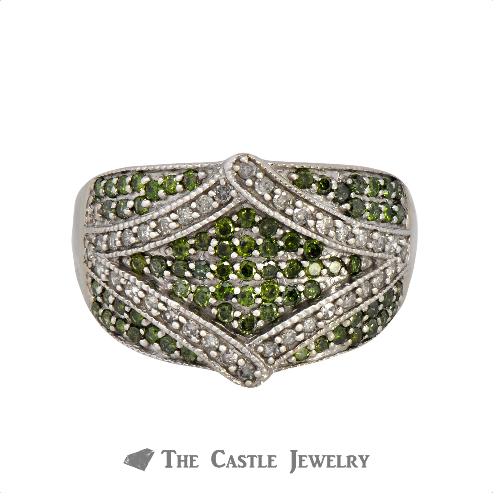 Green & White Diamond Cluster Ring With Fancy Rectangle Shaped Design