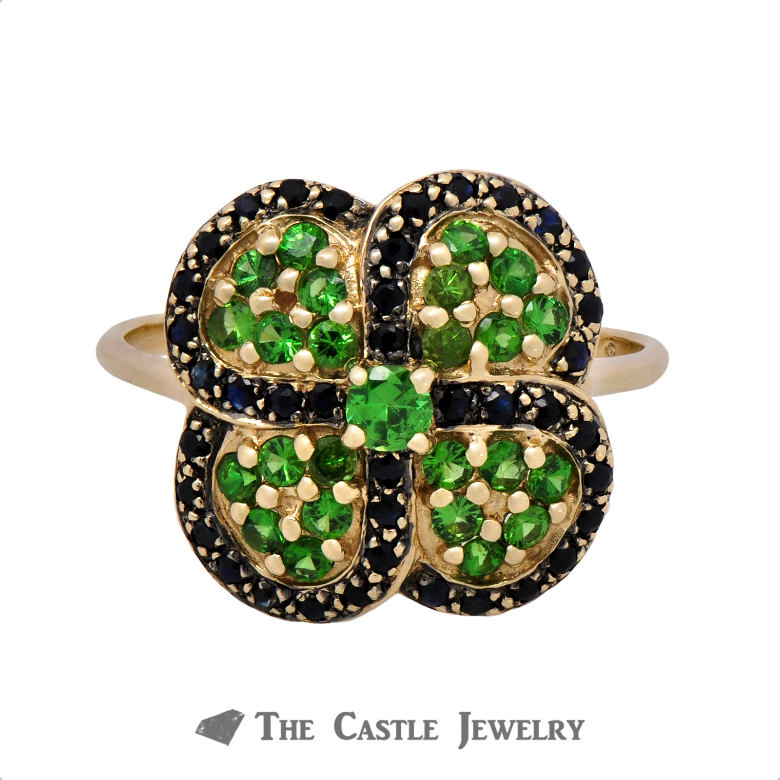 Sapphire and Tsavorite Garnet Clover Cluster Ring in 10k Yellow Gold
