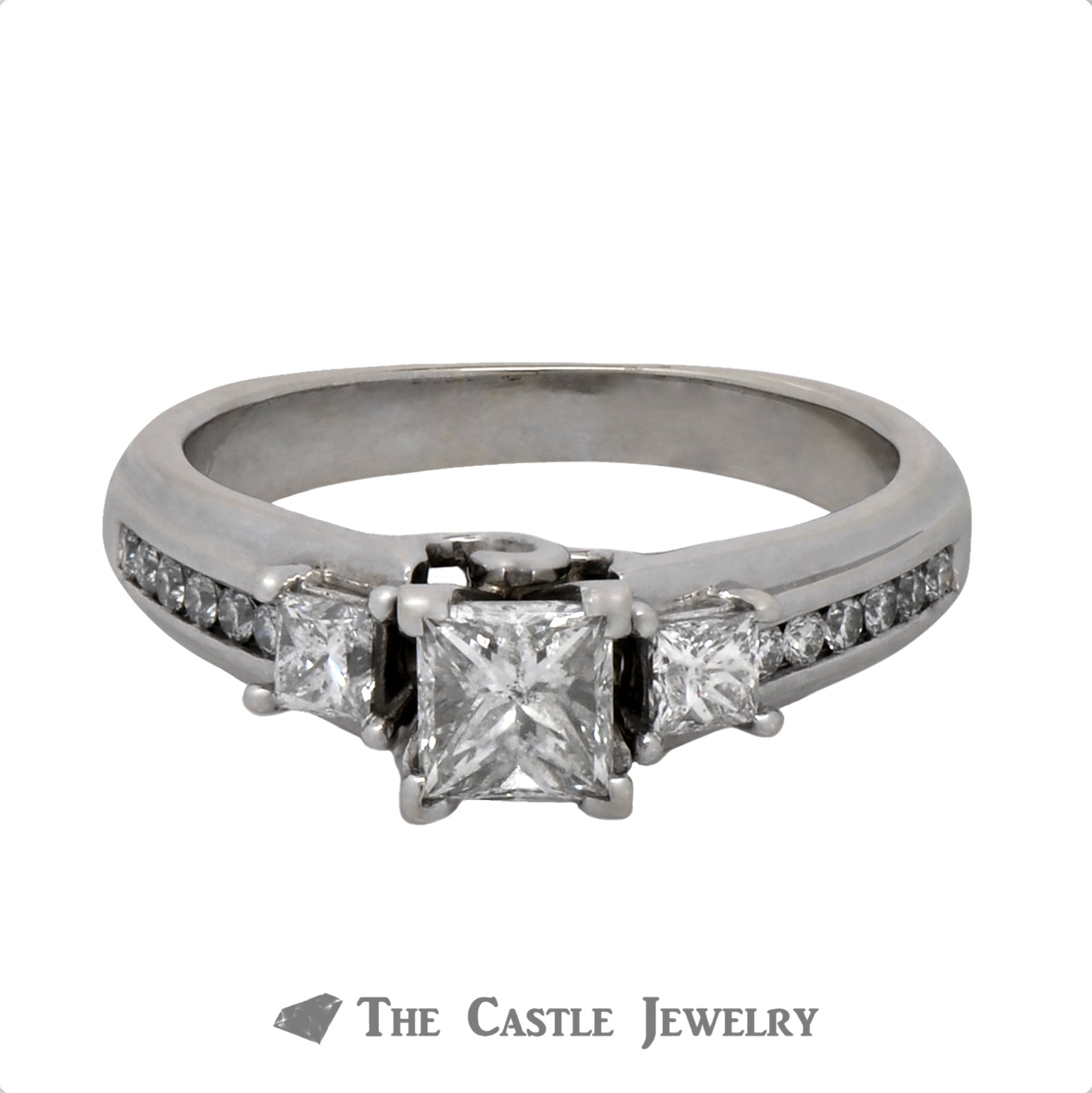 Princess Cut Three Stone Diamond Engagement Ring with Accents in a Cathedral Mounting