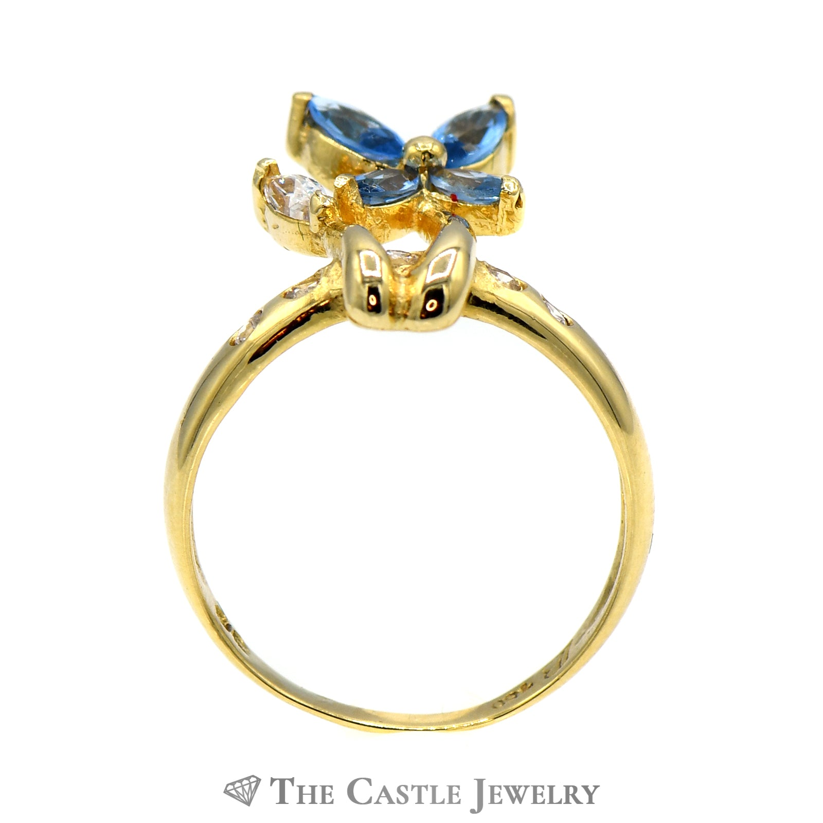 Blue Topaz & Cubic Zirconia Flower Designed Ring in 18k Yellow Gold-1
