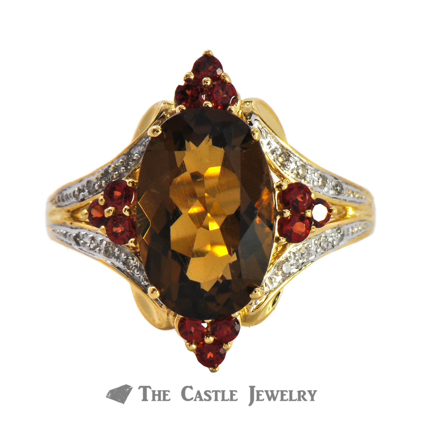 Smoky Topaz, Garnet And .08cttw Diamond Ring In 10K Yellow Gold