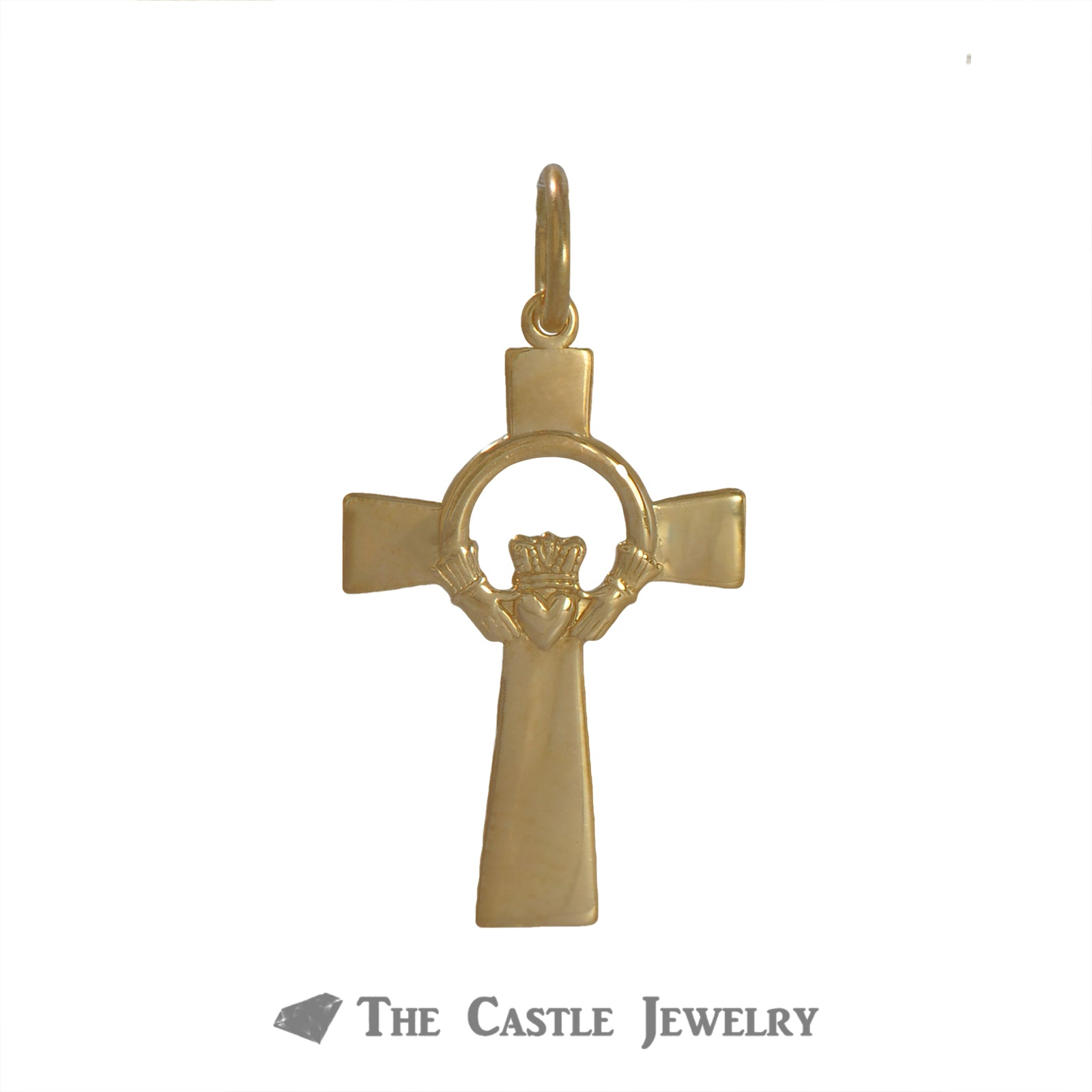 Claddagh Cross Pendant Crafted in 14k Yellow Gold