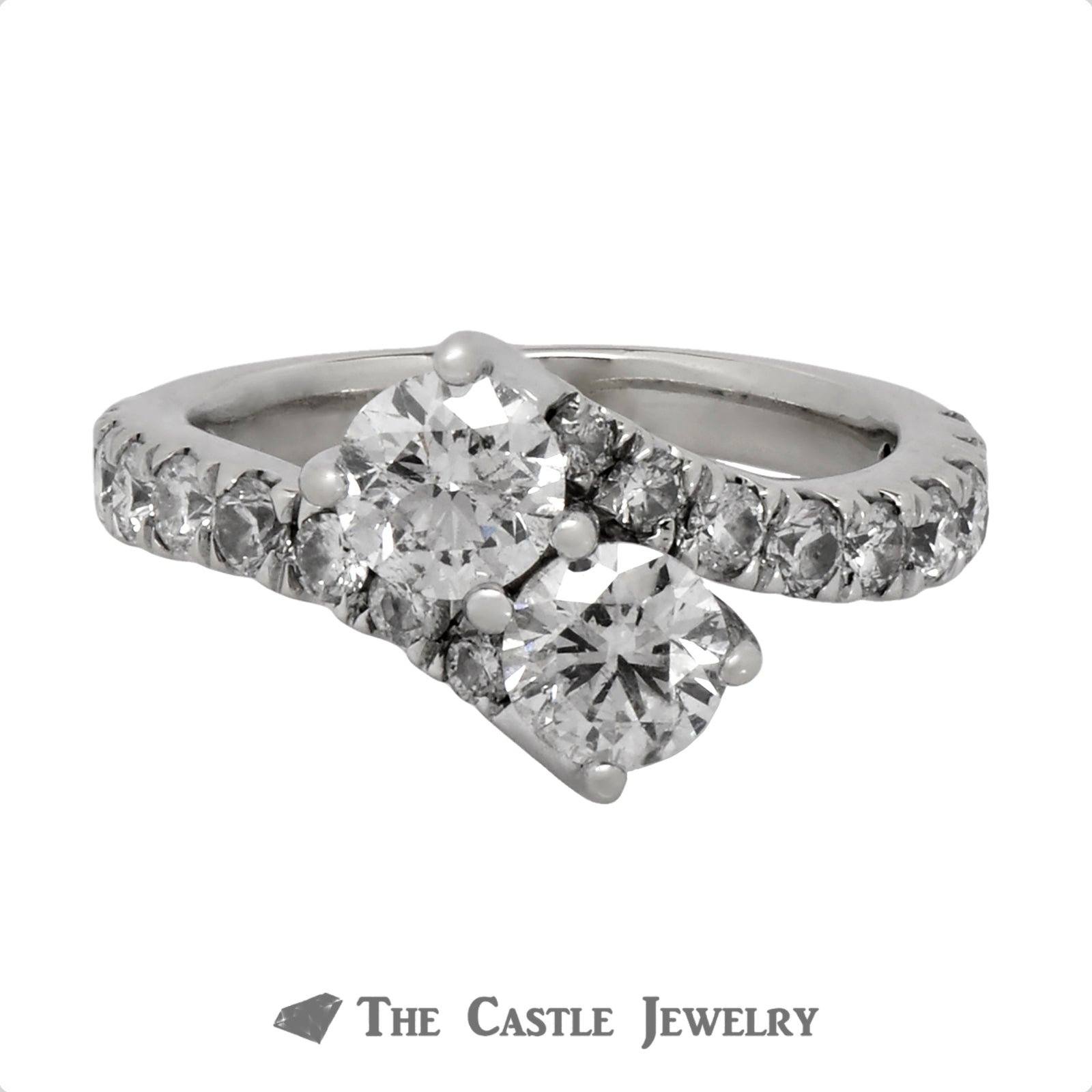 2cttw Ever Us Designer Engagement Ring in 14k White Gold Bypass Setting