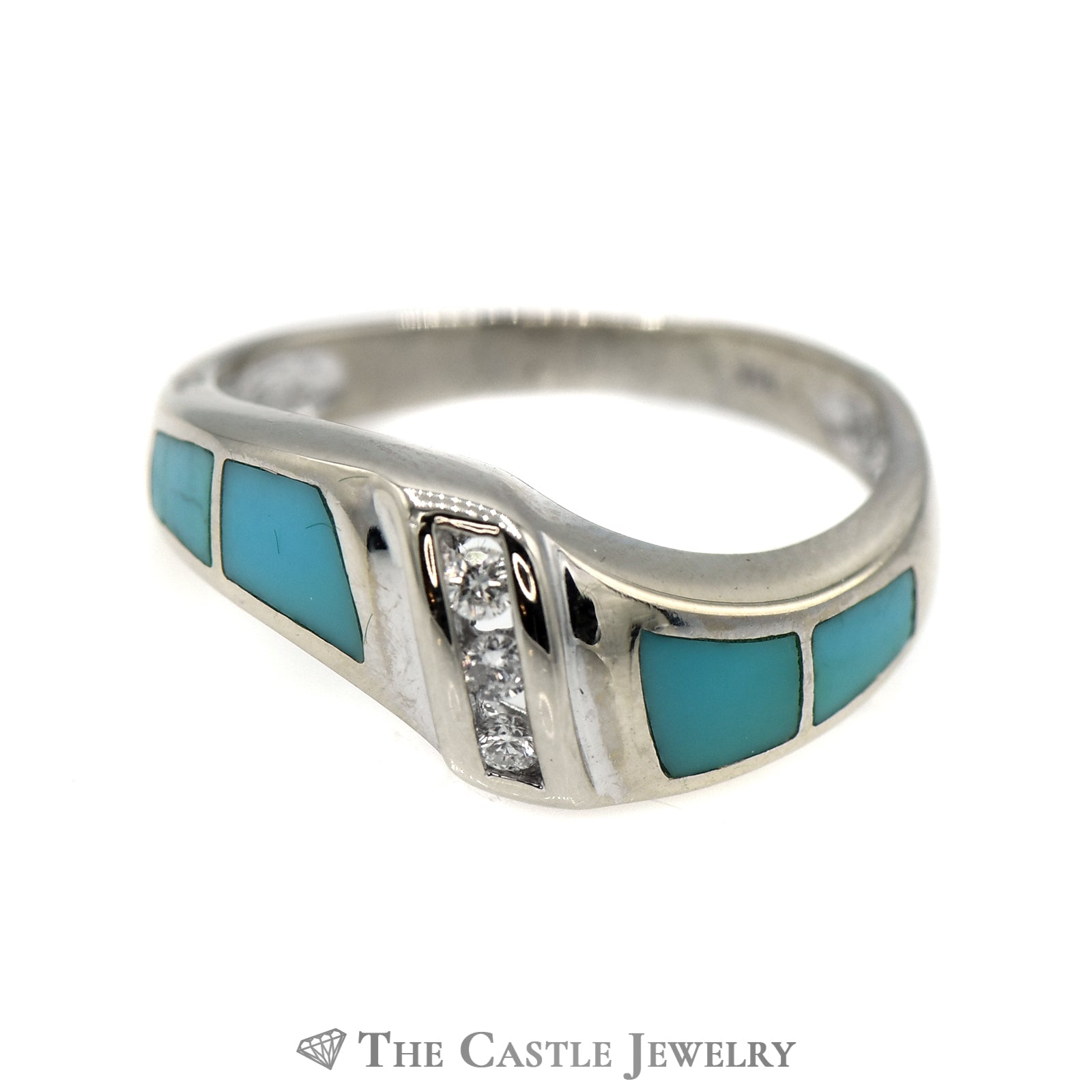 Triple Channel Set Diamond Band with Turquoise Inlay Accents in 14k White Gold