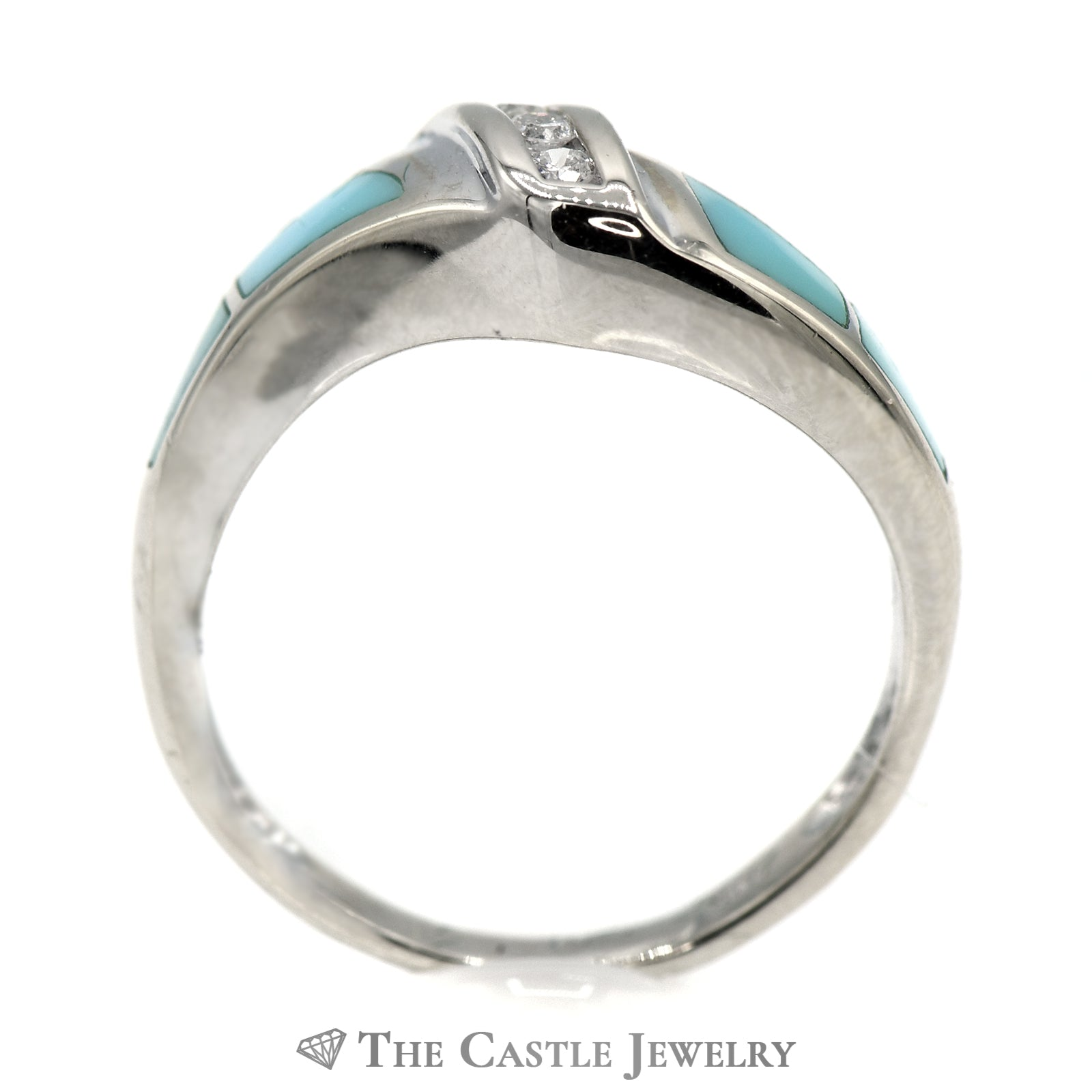 Triple Channel Set Diamond Band with Turquoise Inlay Accents in 14k White Gold-1