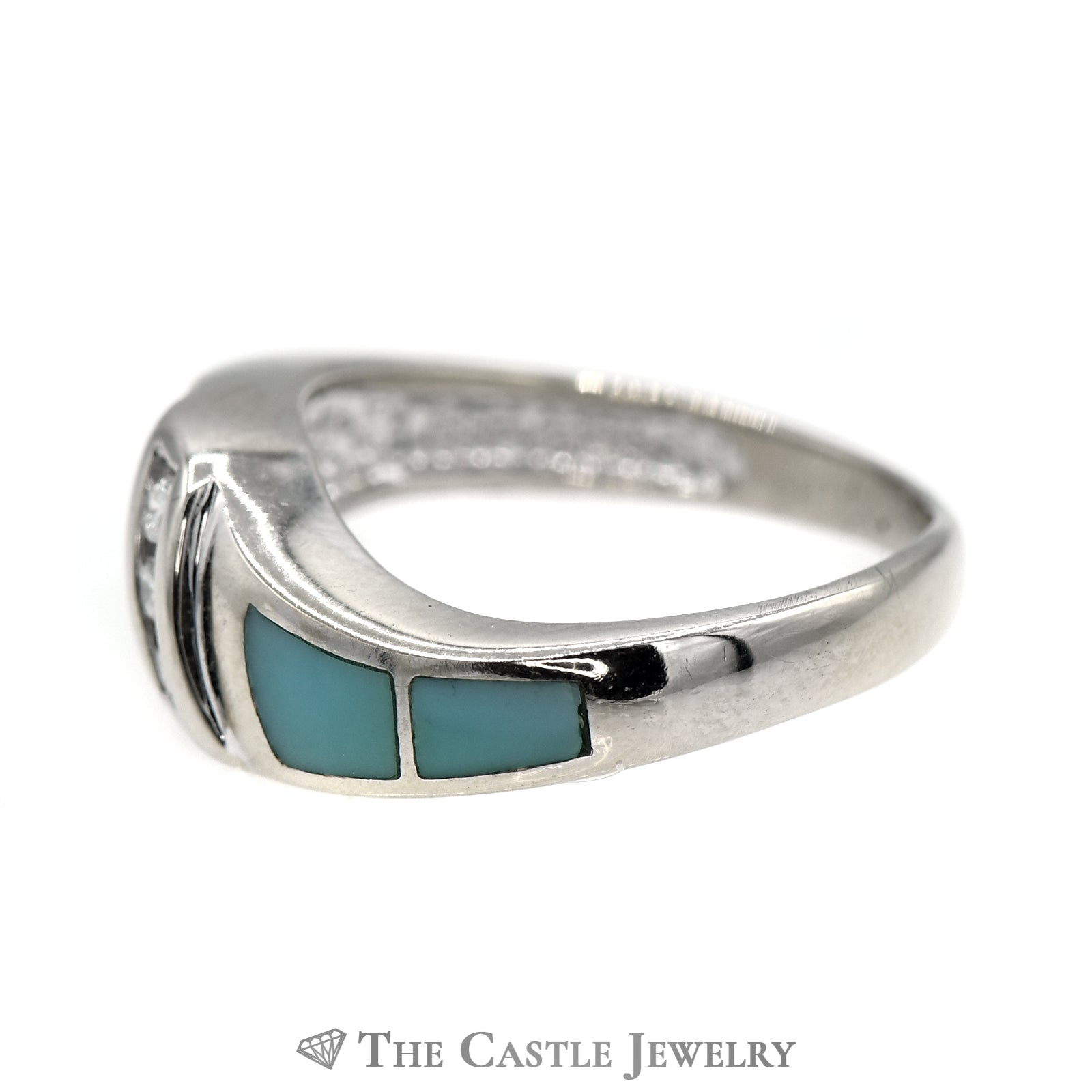 Triple Channel Set Diamond Band with Turquoise Inlay Accents in 14k White Gold-2
