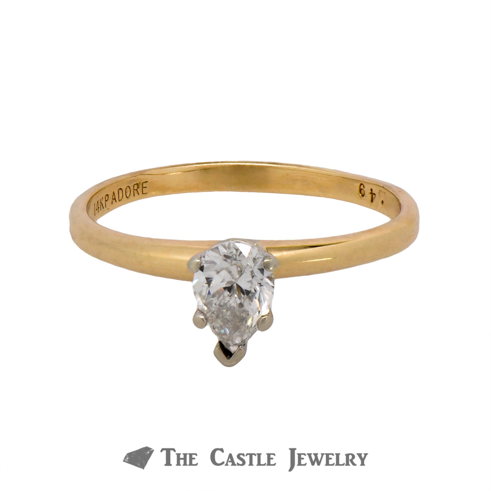 Lovely .49ct Pear Shaped Solitaire Diamond Engagement Ring Crafted in 14K Yellow Gold