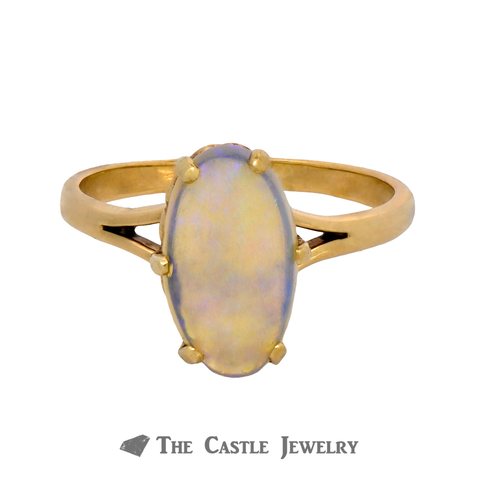 Oval Jelly Opal Ring in Six Prong Mounting Crafted in 10K Yellow Gold