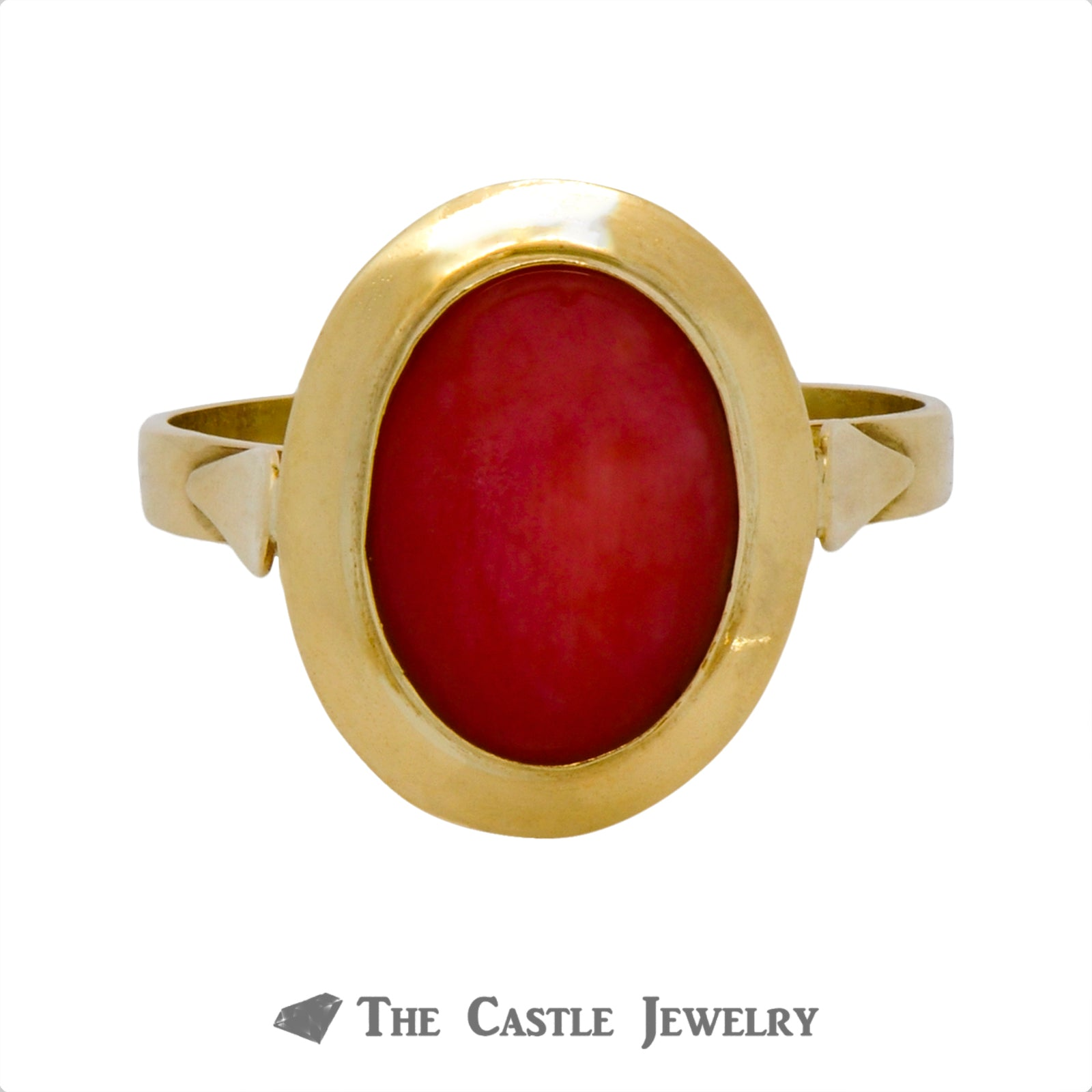 Oval Cut Coral Ring with Polished Bezel in 18k Yellow Gold