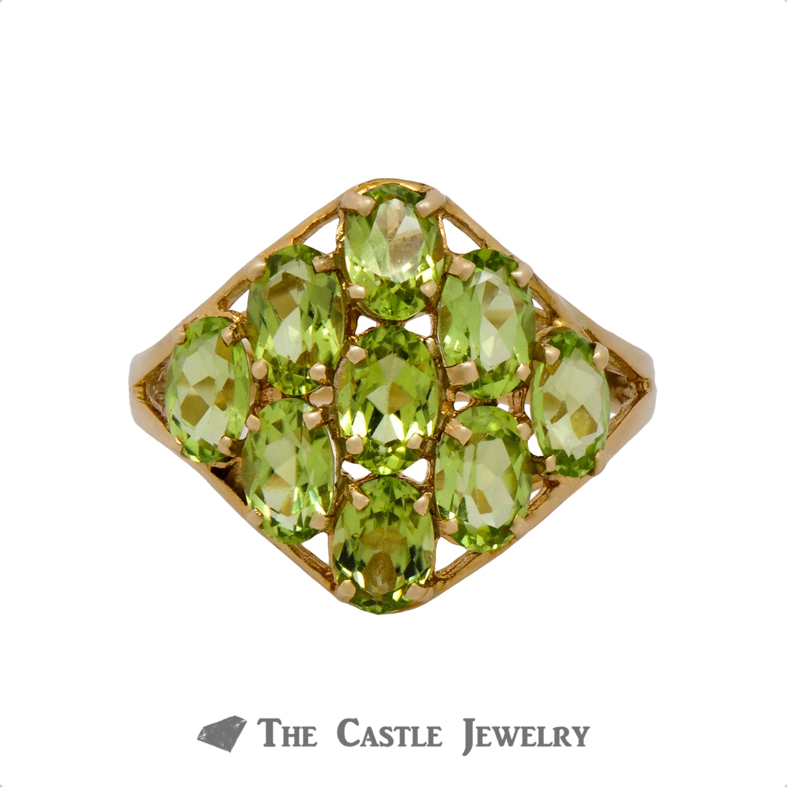 Oval Cut Peridot Cluster Ring Crafted in 10k Yellow Gold