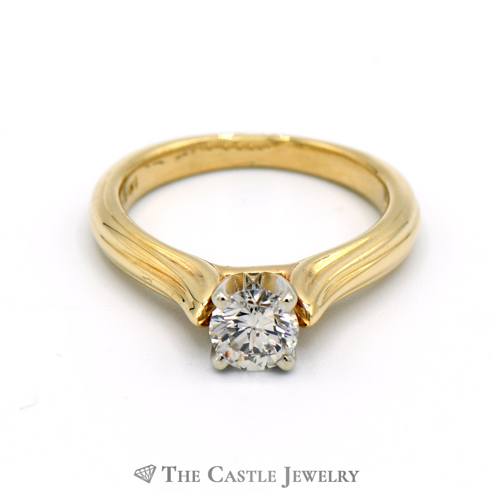 Round Brilliant Cut .53ct Diamond Solitaire Engagement Ring in 14K Yellow Gold