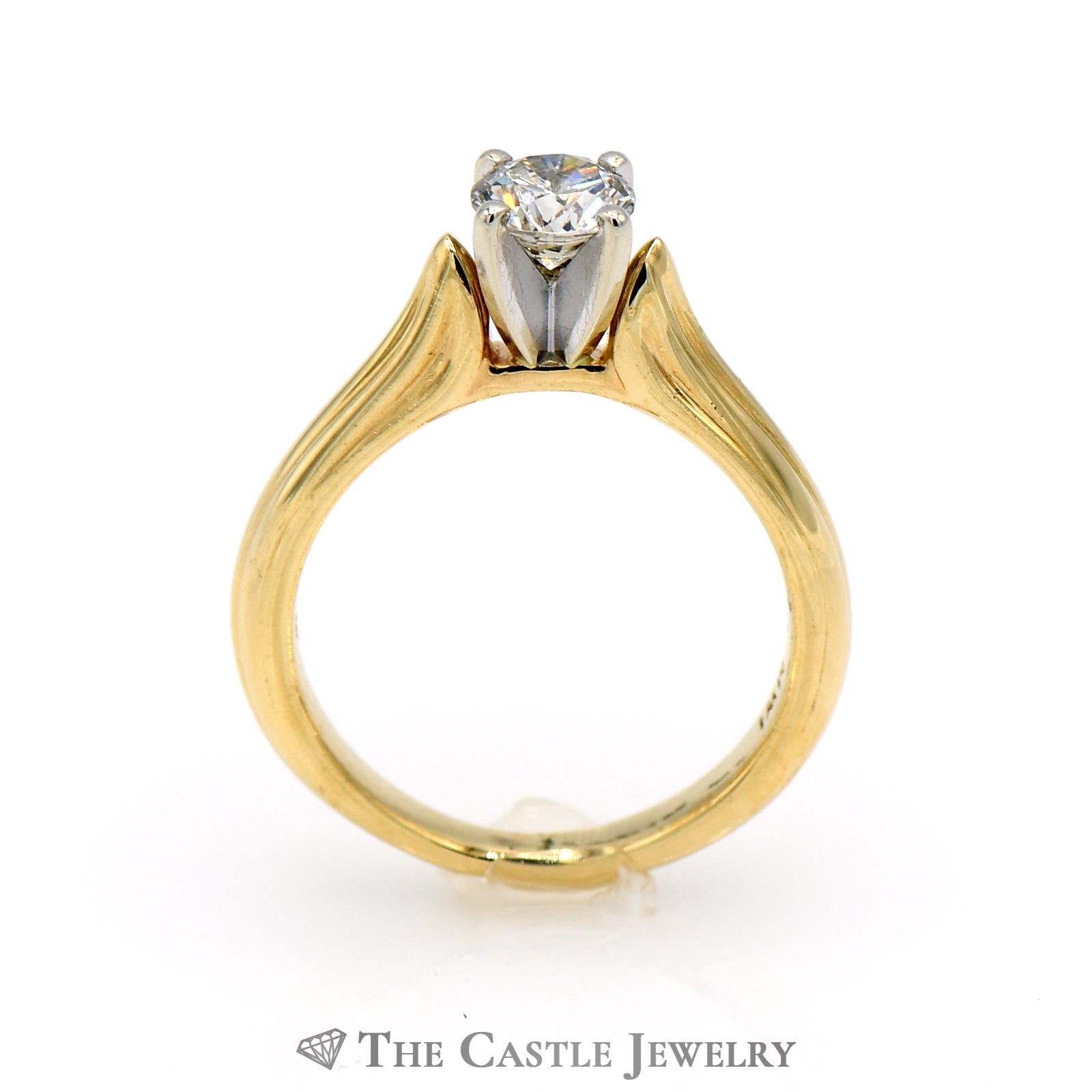Round Brilliant Cut .53ct Diamond Solitaire Engagement Ring in 14K Yellow Gold-1