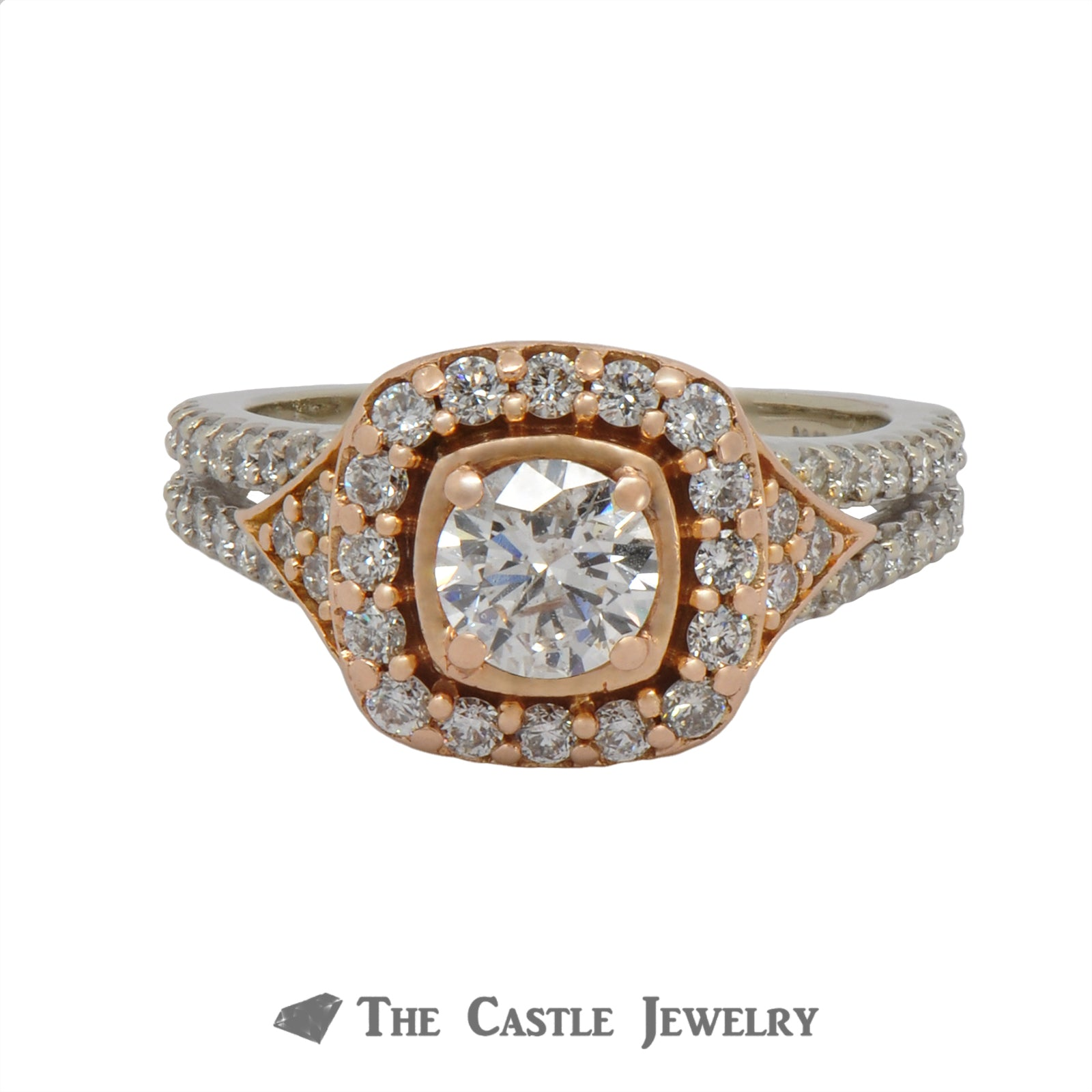 1.25cttw Diamond Engagement Ring with Halo & Accents In 14K Rose And White Gold