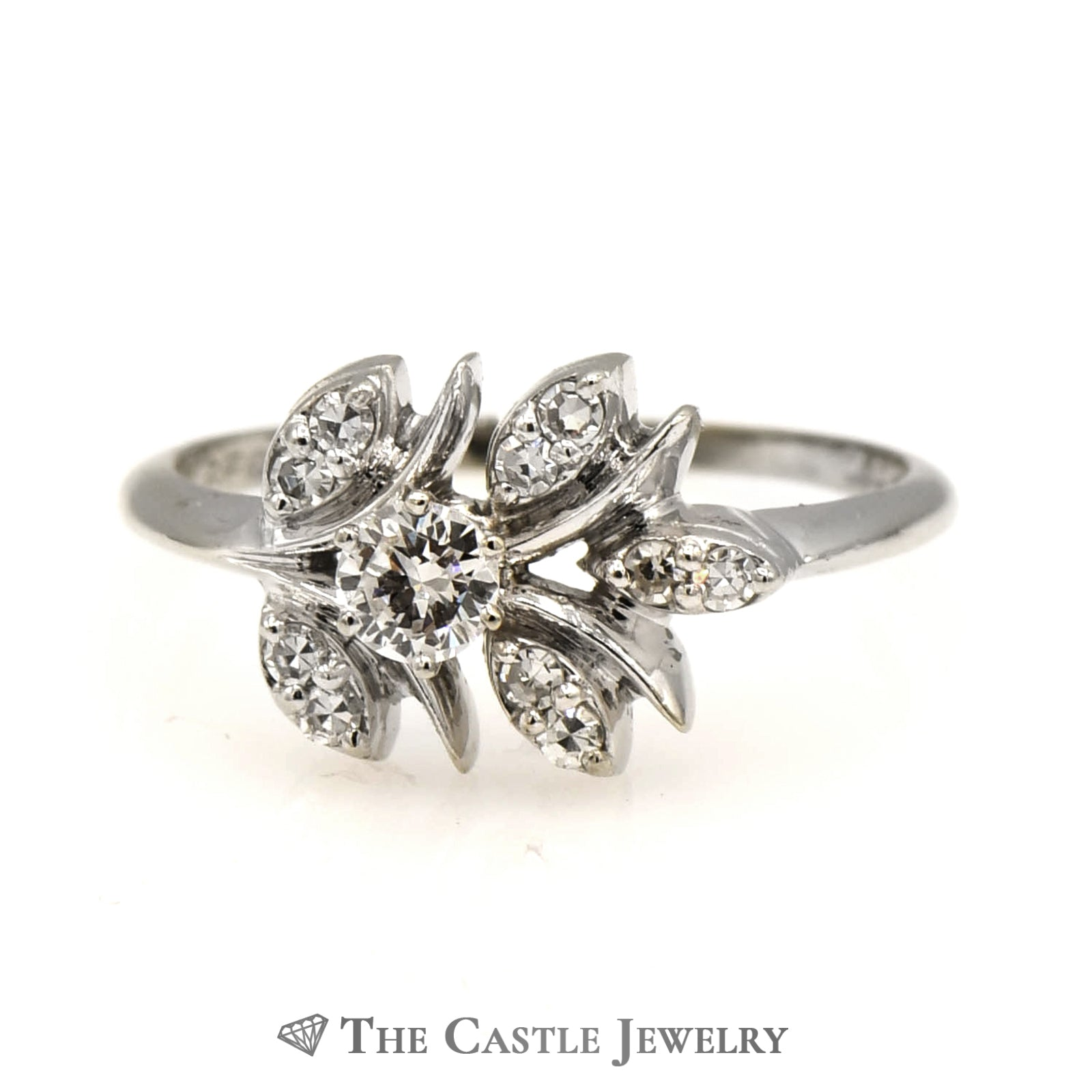 Vintage Leaf Design Ring with Full & Single Cut Diamonds