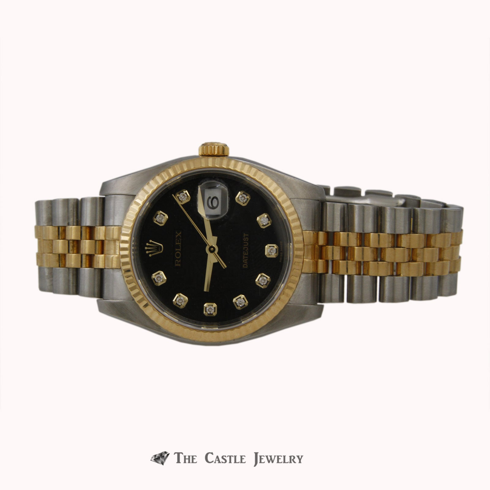 Rolex Datejust w/ Black Signature Dial w/ Stainless Steel & 18K Two Toned Jubilee 116233-5