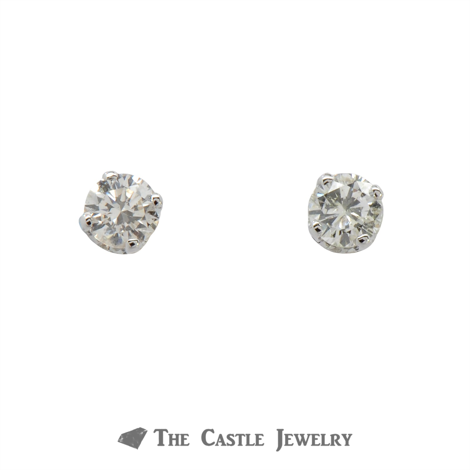.50cttw Round Brilliant Cut Diamond Stud Earrings in 14k White Gold