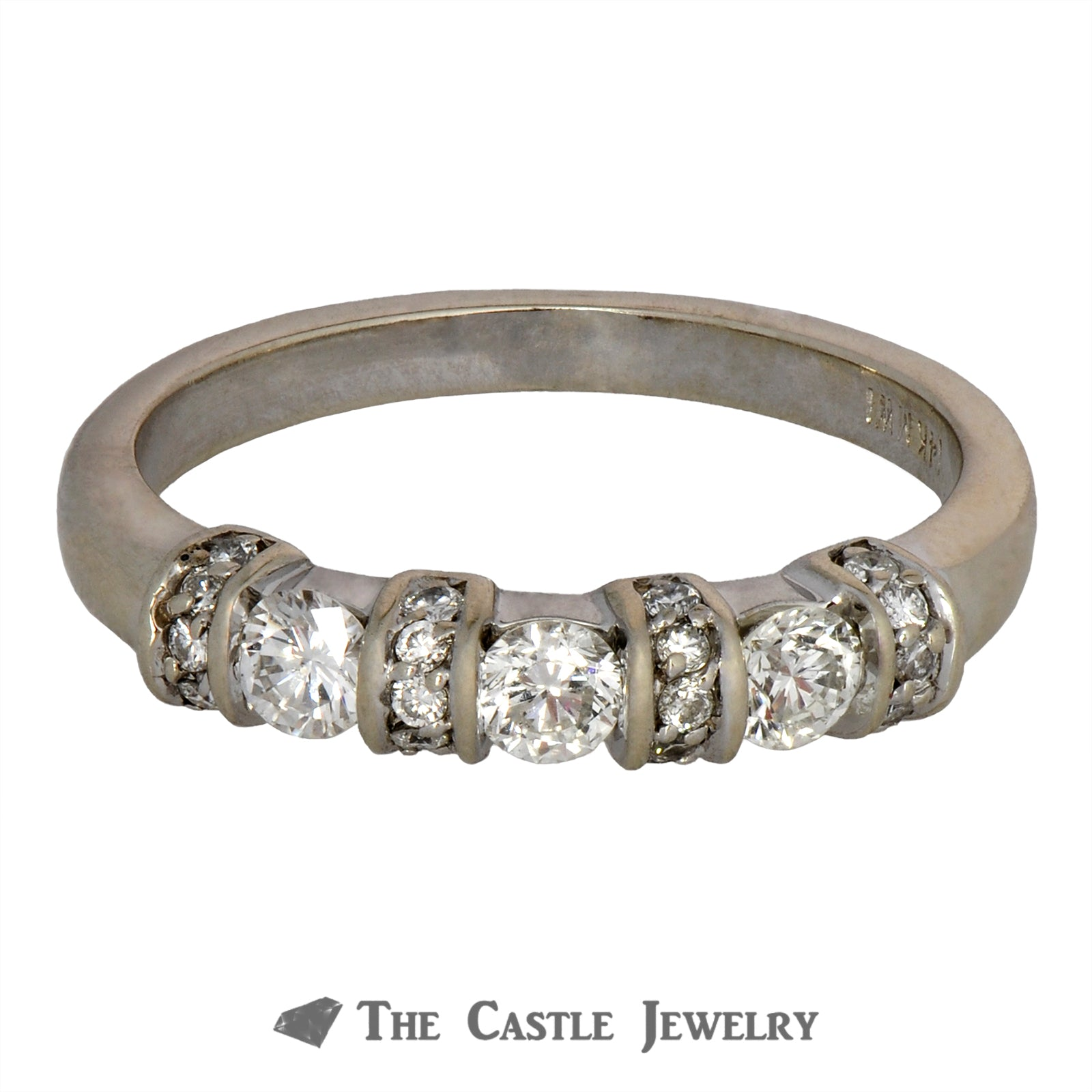 Round Diamond Band with Diamond Bar Accents in 14K White Gold