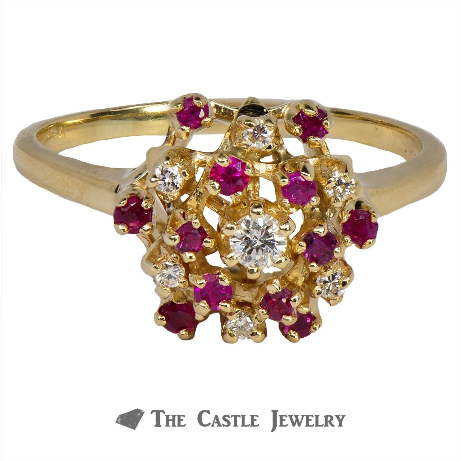 Ruby and Diamond Cluster Ring in 14K Yellow Gold