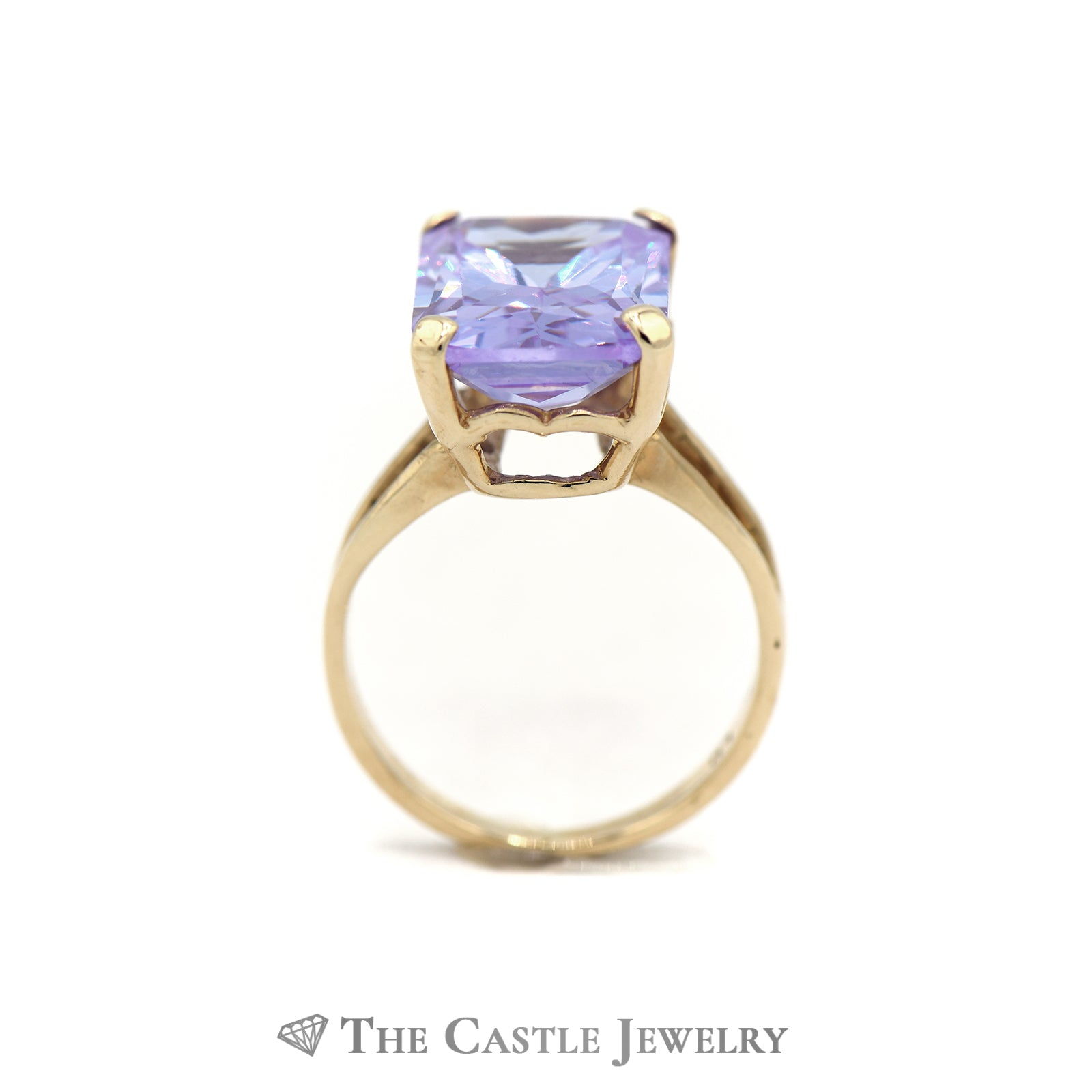 Emerald Cut Lavender Ice Ring in 10k Yellow Gold Split Shank Setting-1