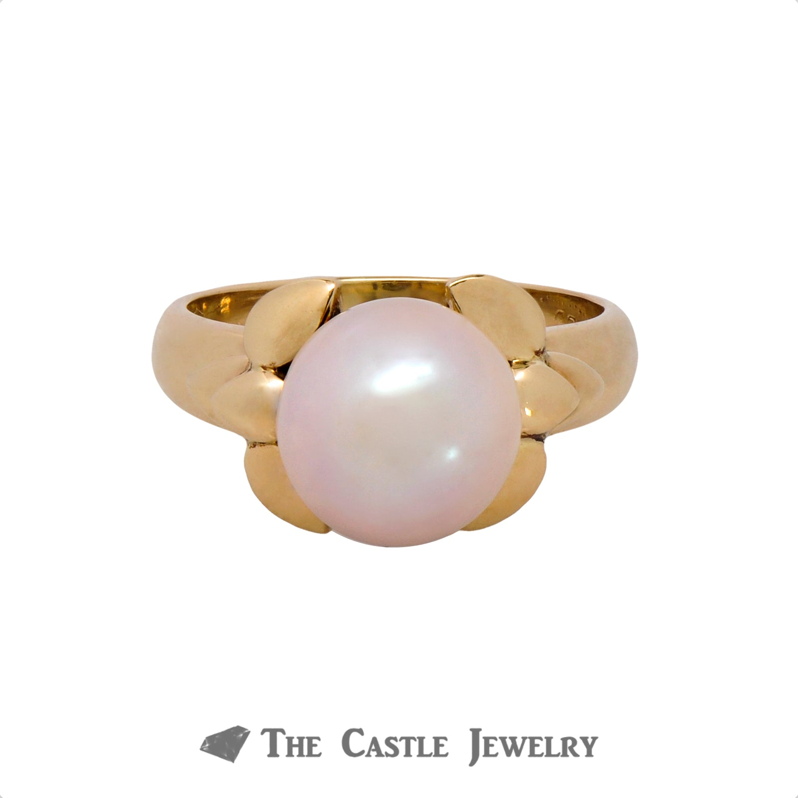 Pearl Ring with Fancy Bow Design Sides in 14K Yellow Gold-0