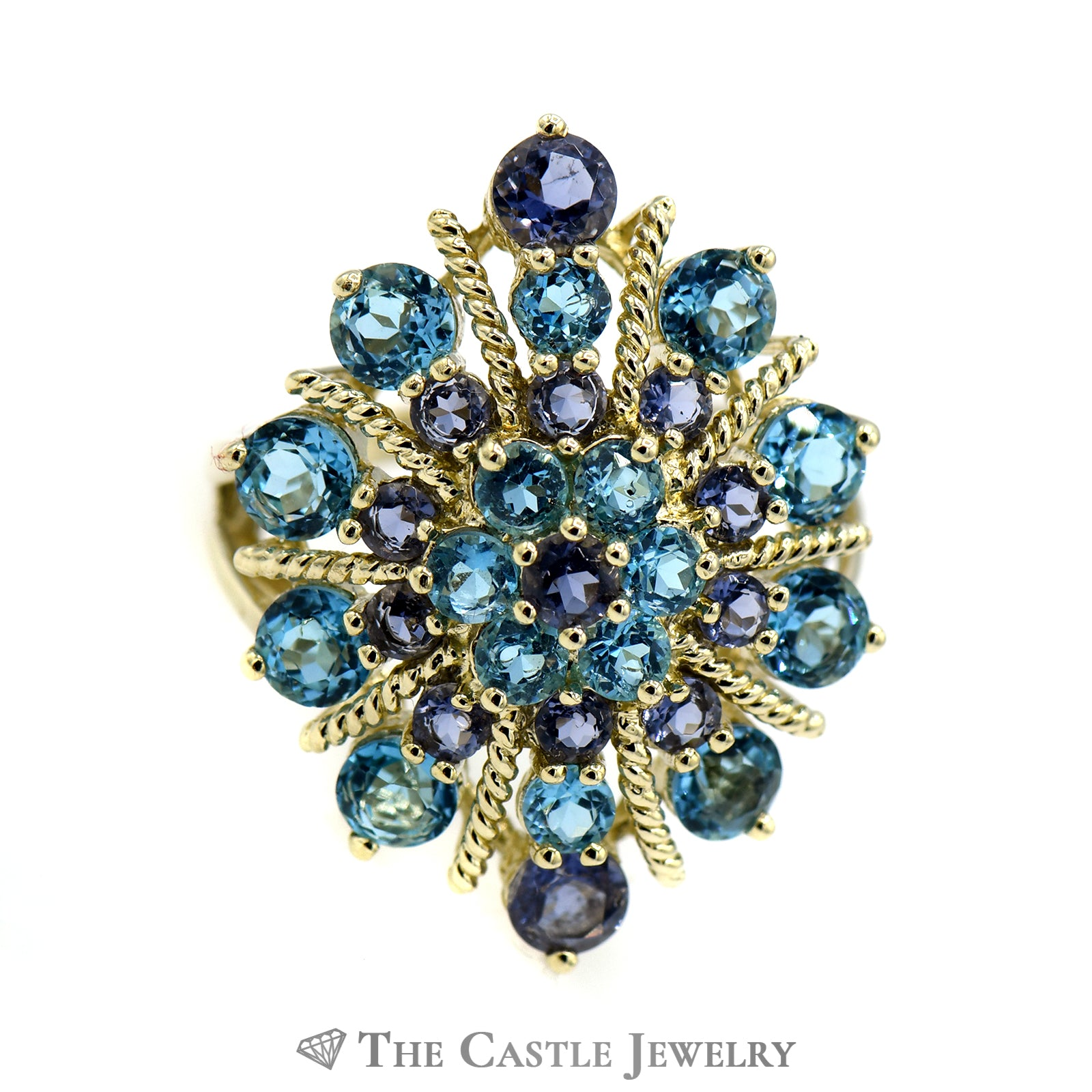 Tanzanite & Topaz Sparkler Ring with Twisted Gold Accents