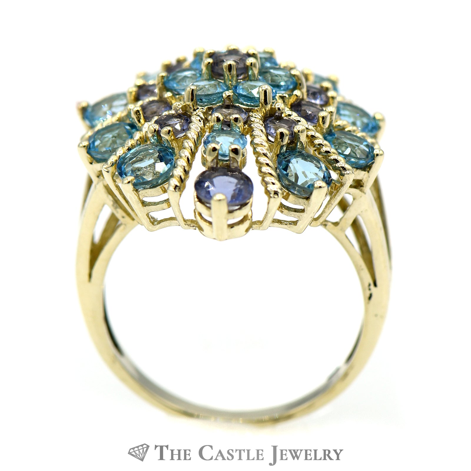 Tanzanite & Topaz Sparkler Ring with Twisted Gold Accents-1