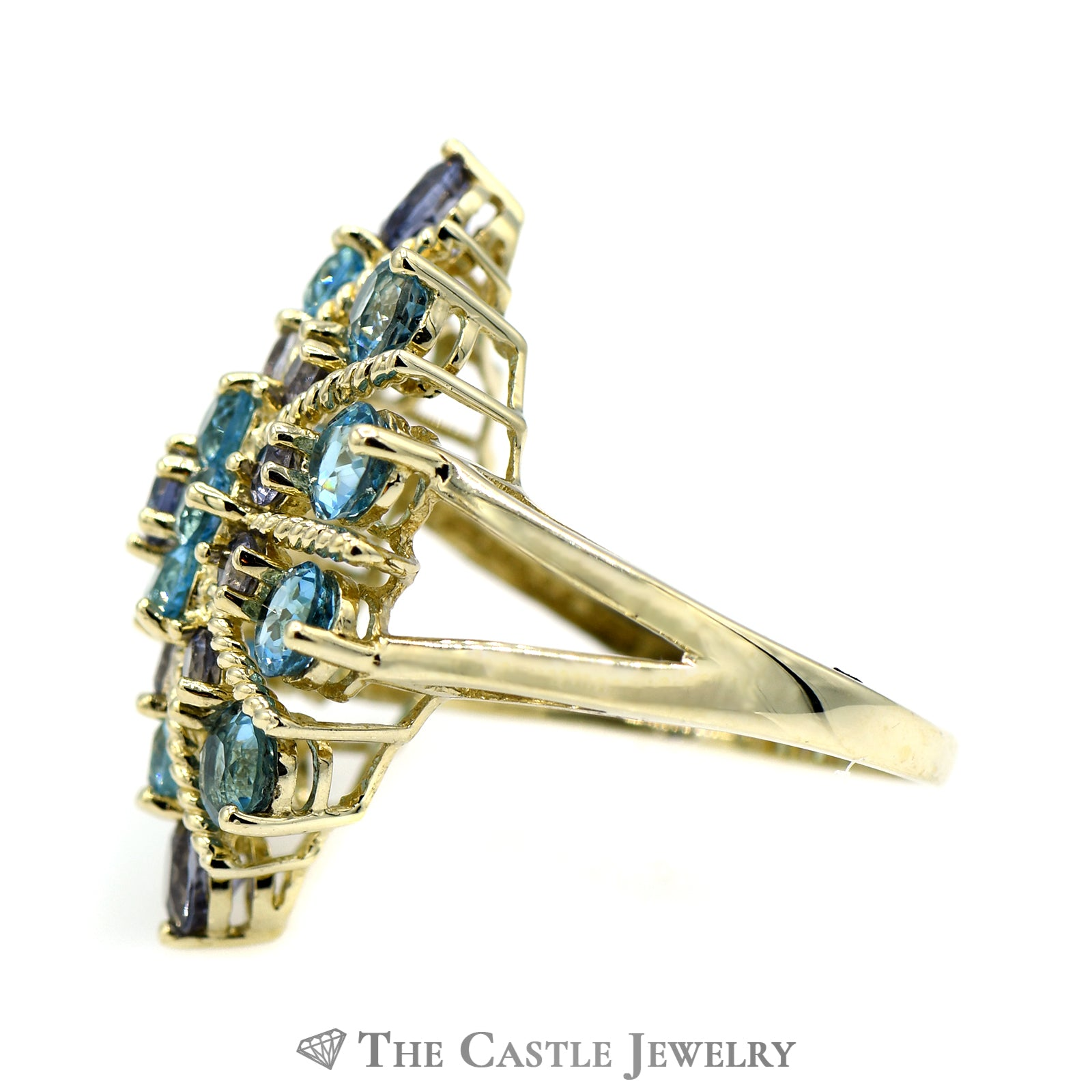 Tanzanite & Topaz Sparkler Ring with Twisted Gold Accents-2